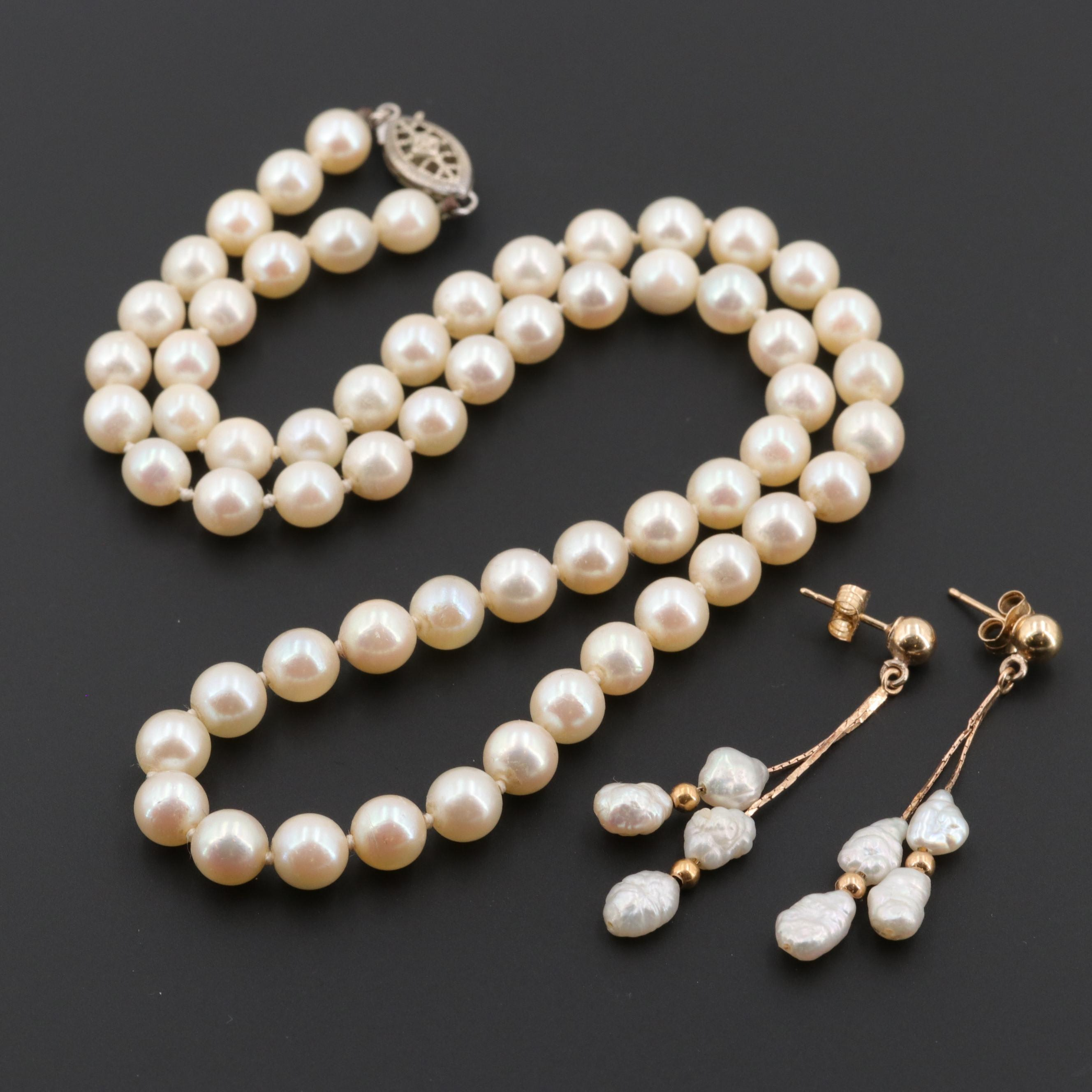 14K Yellow Gold Cultured Pearl Earrings and Silver Tone Necklace