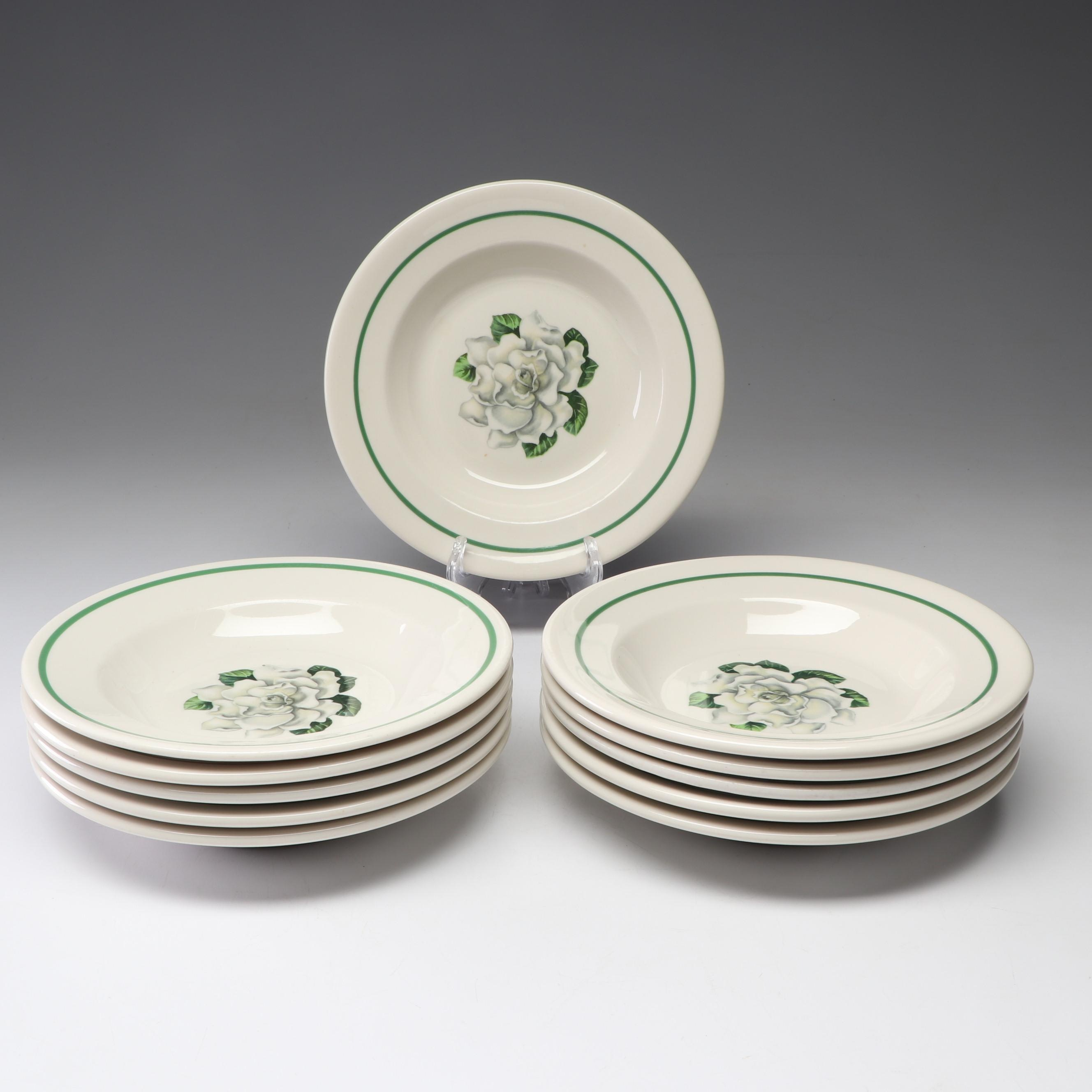 Syracuse China Floral Pattern Green Stripe Bowls