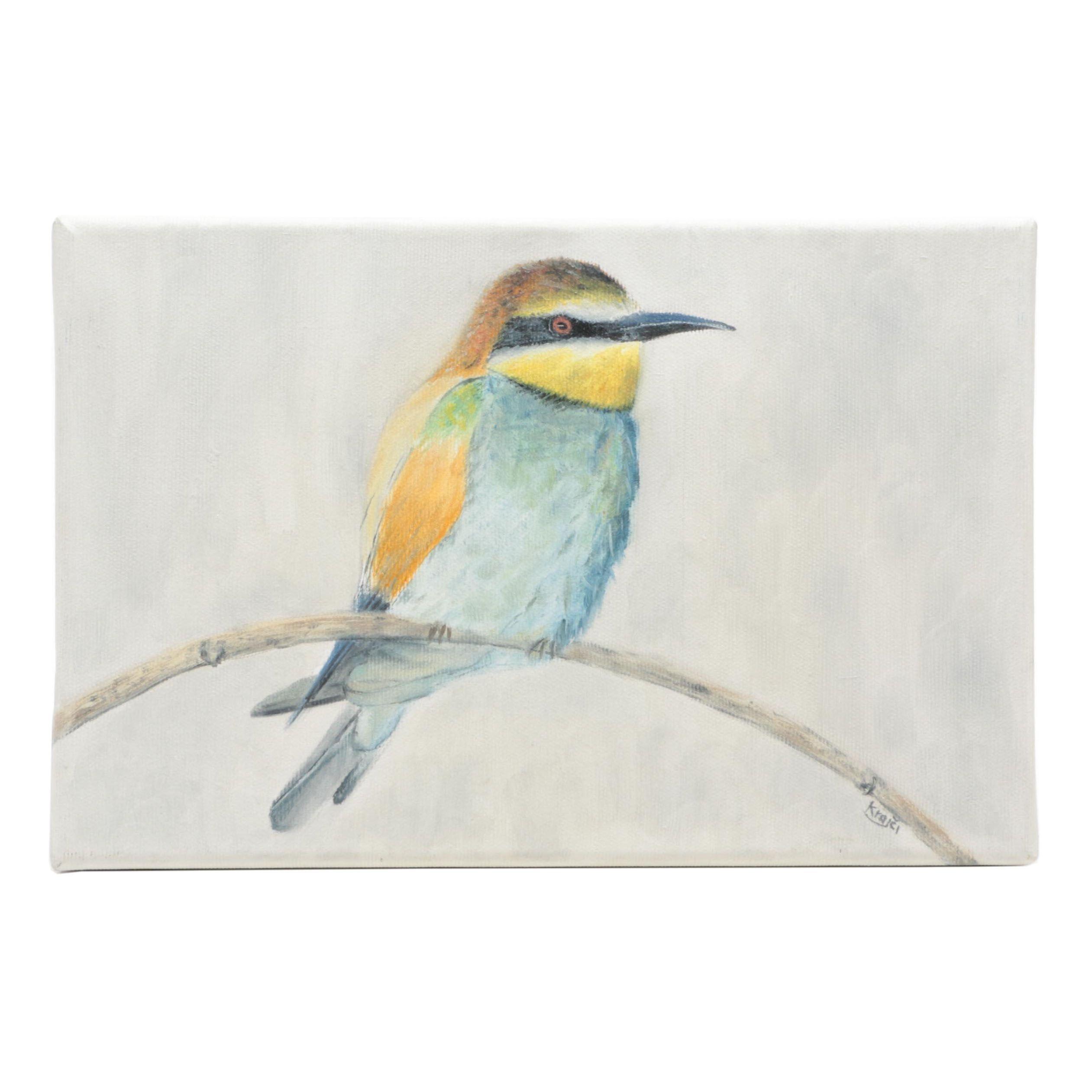 Filip Krajči Oil Painting of Bird on Twig, 21st Century