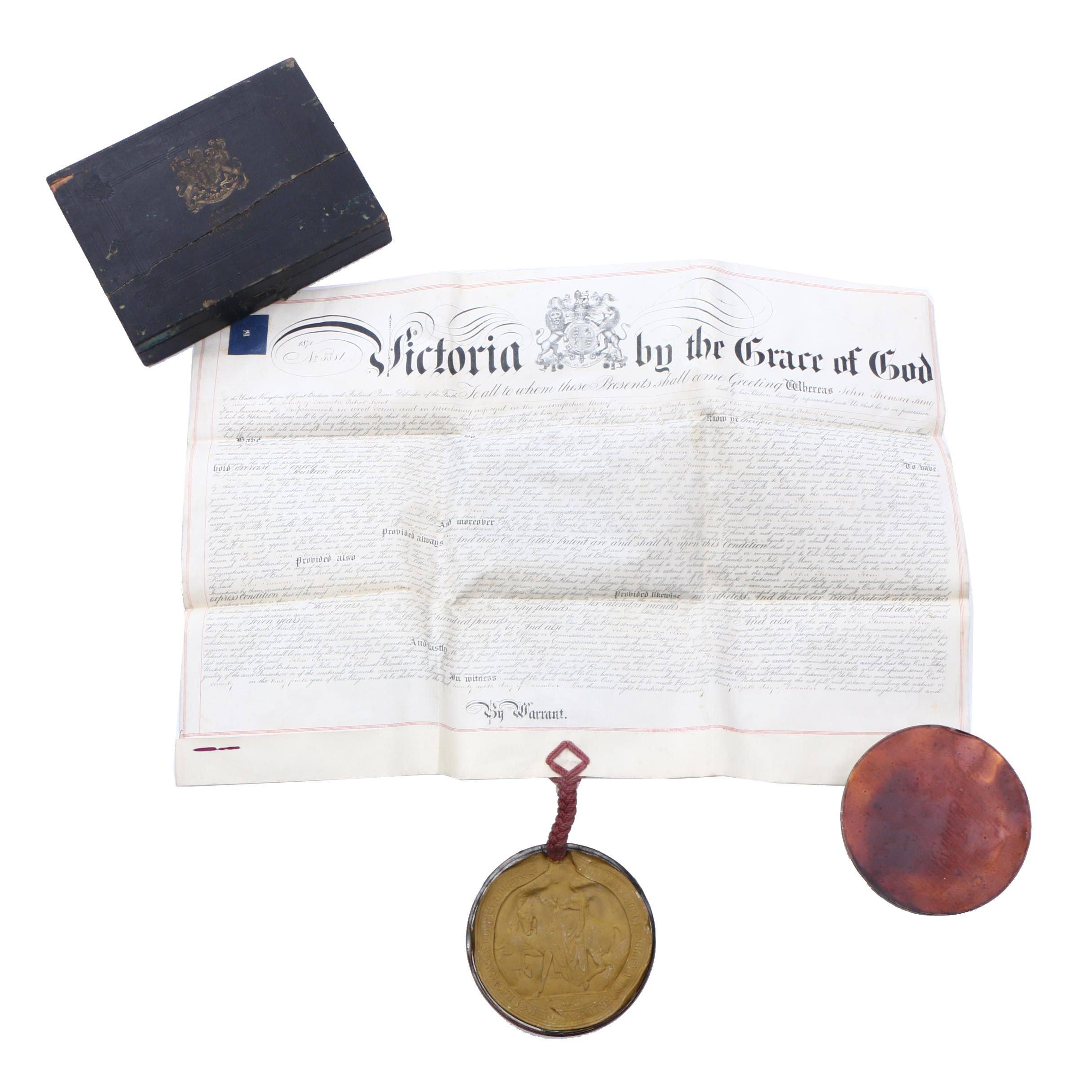 1870 Victorian Patent Document with Large Wax Seal