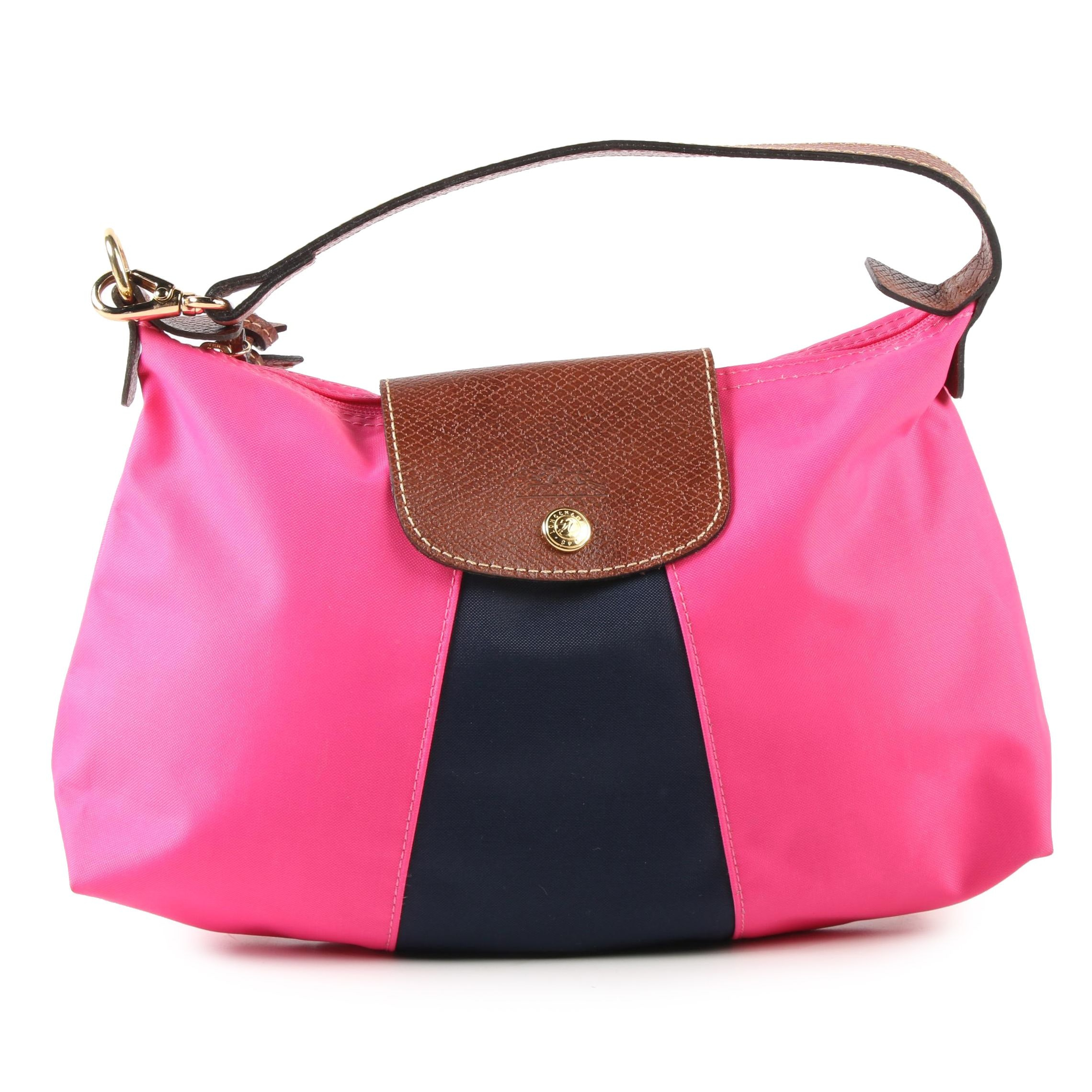 Longchamp Mini Pink and Blue Nylon Accessory Bag Trimmed in Leather