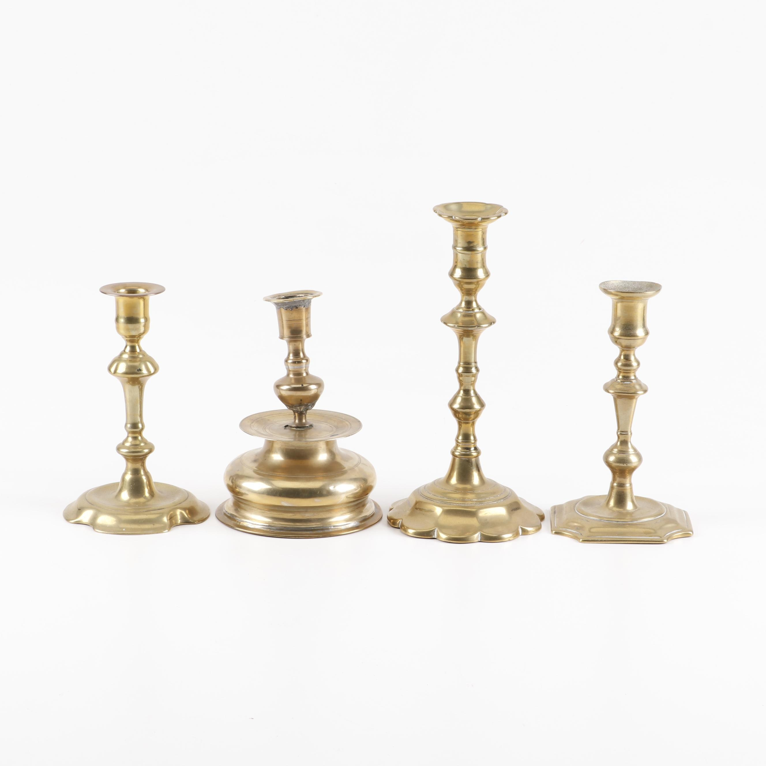 Unmatched Brass Candlesticks, Late 18th to Mid-19th Century