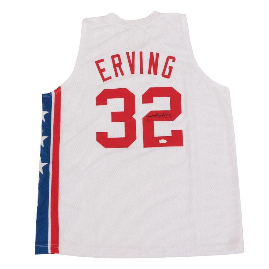 purchase cheap 1d684 22378 Julius Erving Signed New York Nets Replica Jersey COA