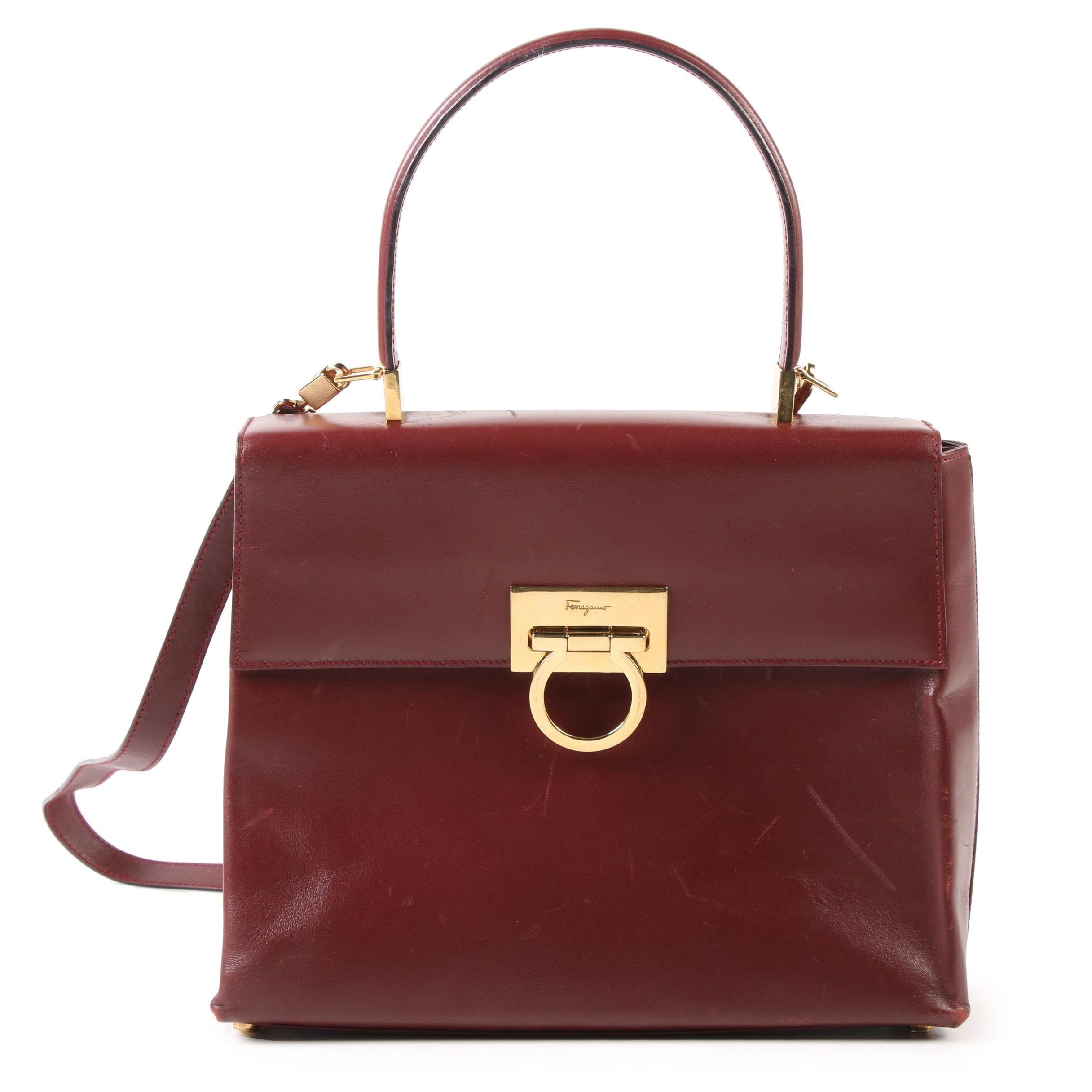 Salvatore Ferragamo Burgundy Leather Convertible Handbag, Vintage