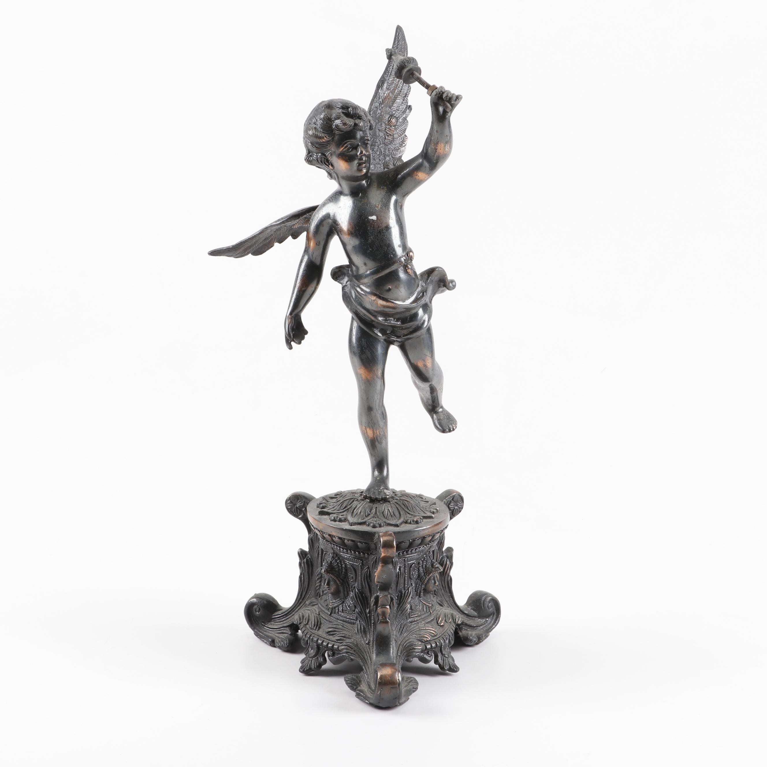 Cast Metal Renaissance Revival Winged Cherub Statue