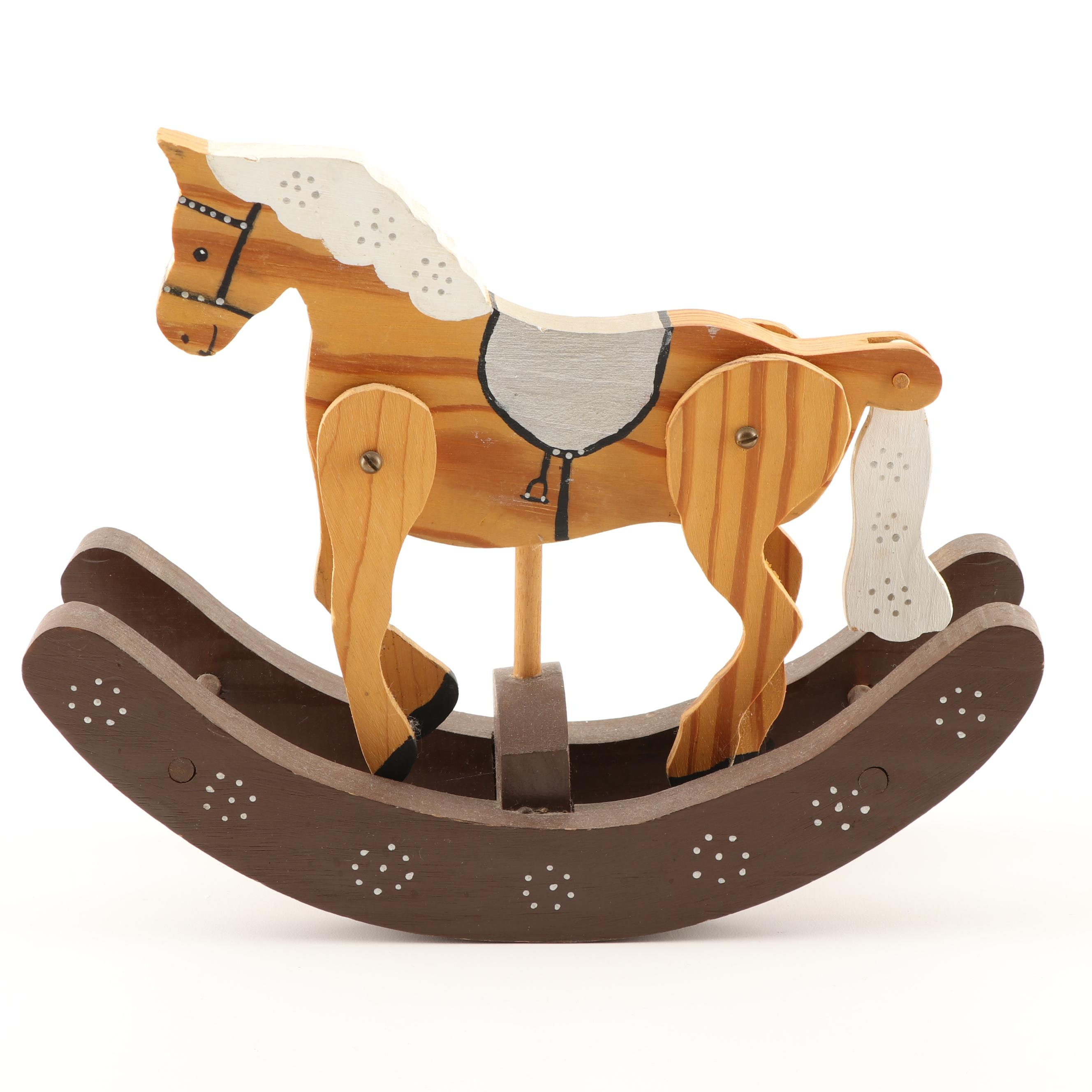 Vintage Hand Painted Wooden Rocking Horse Toy
