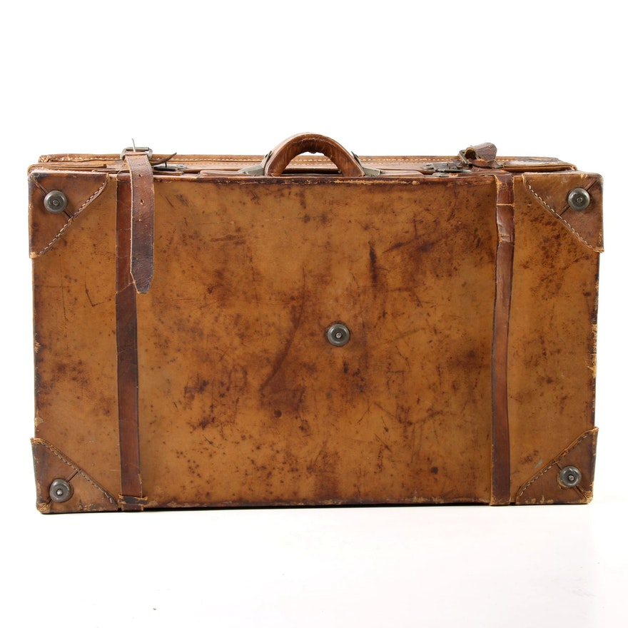 WWII Era Leather Suitcase with Yahinchong Made Hardware, Circa 1940