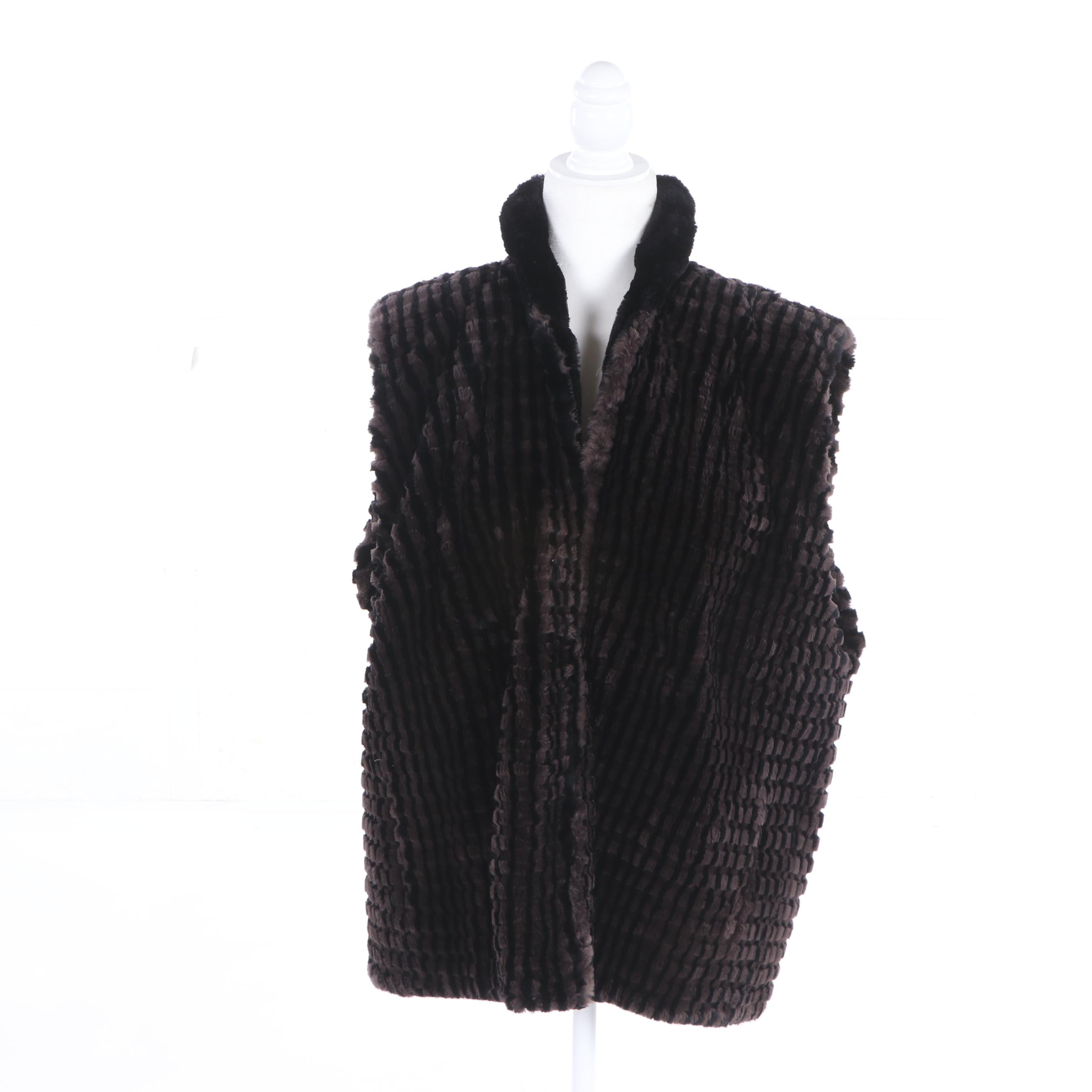 Women's Sheared Rabbit Fur Vest, Made in Canada