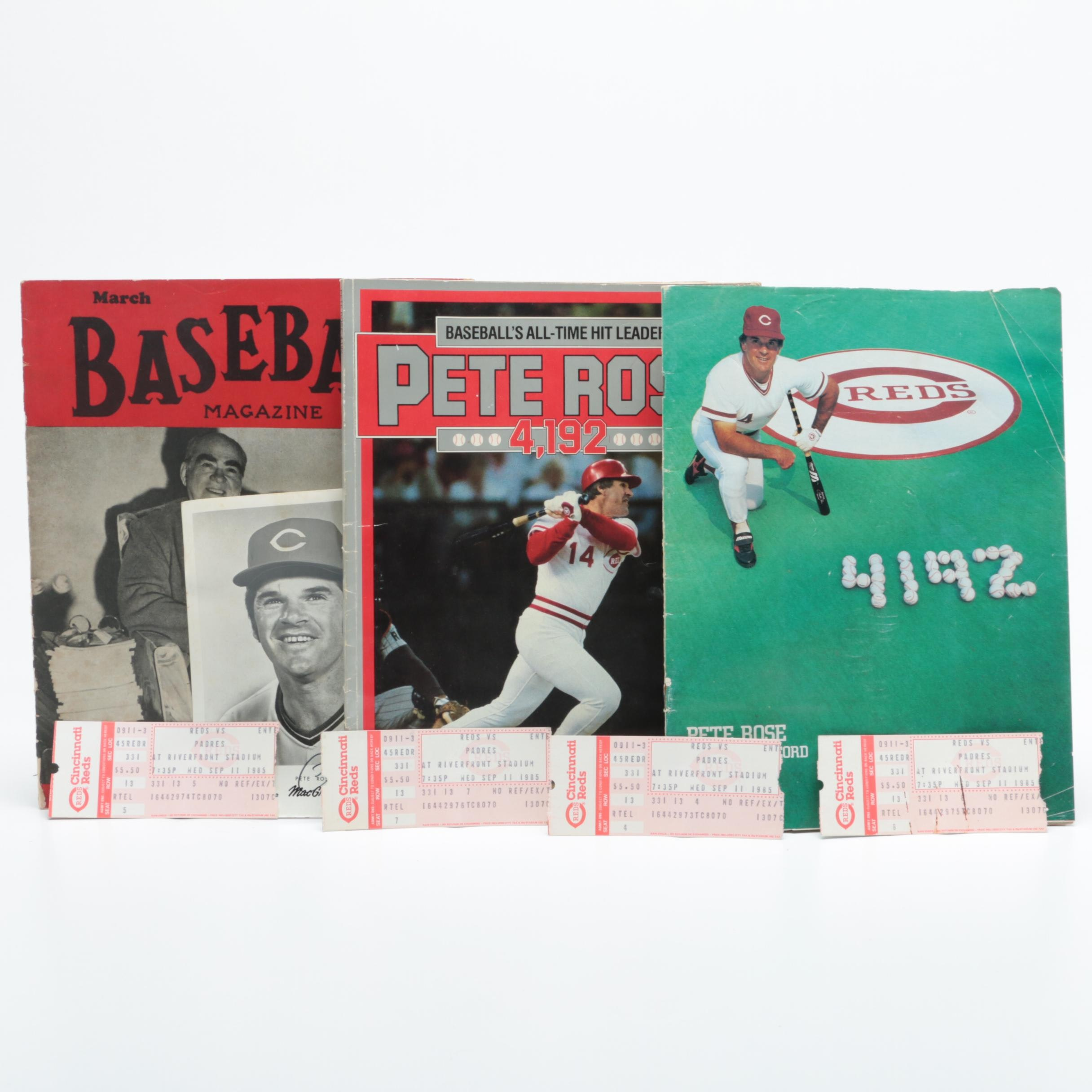 "Signed Pete Rose Headshot with Scorebooks and 1947 ""Baseball"" Magazine"