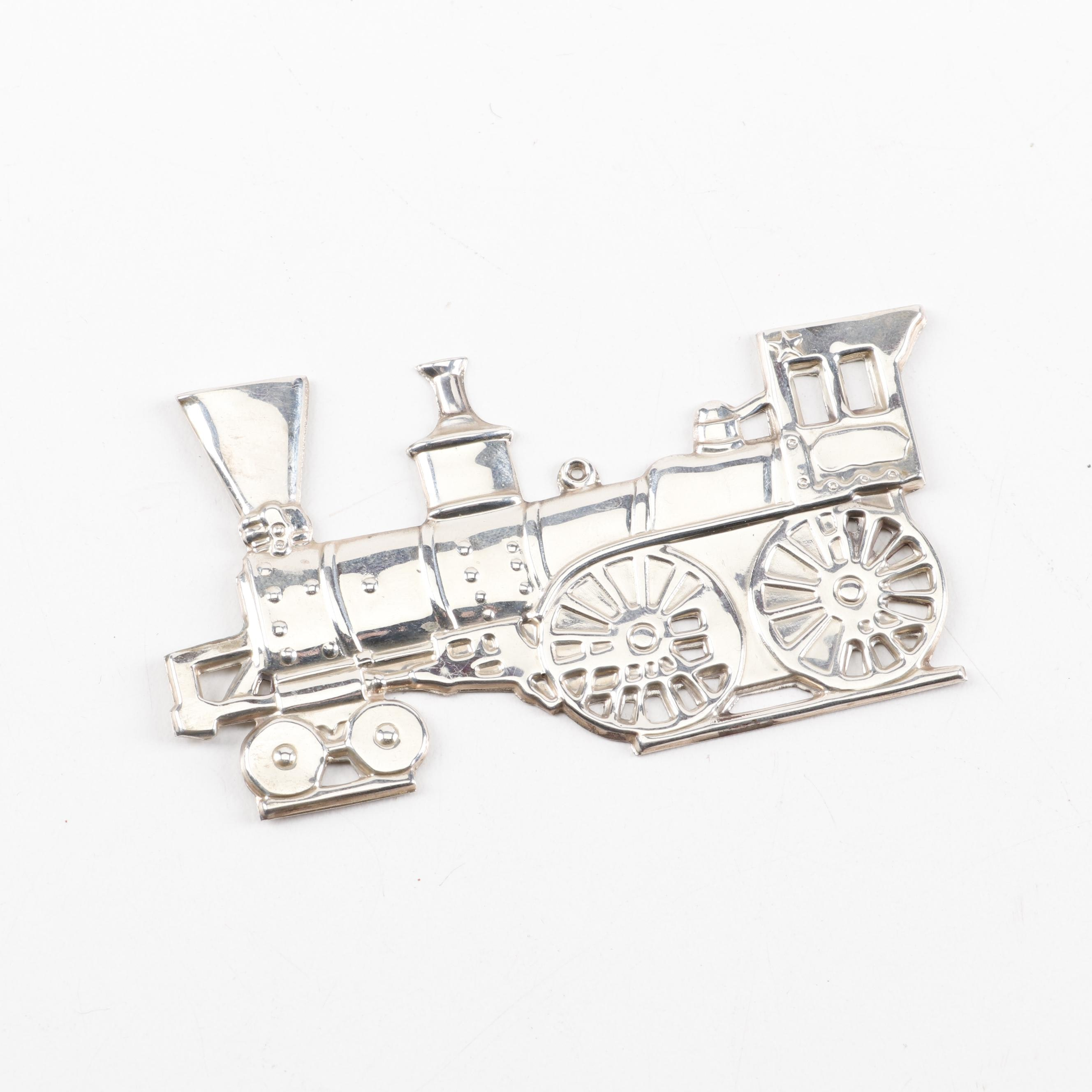 "Gorham Sterling Silver ""Christmas Locomotive"" Ornament, 1976"