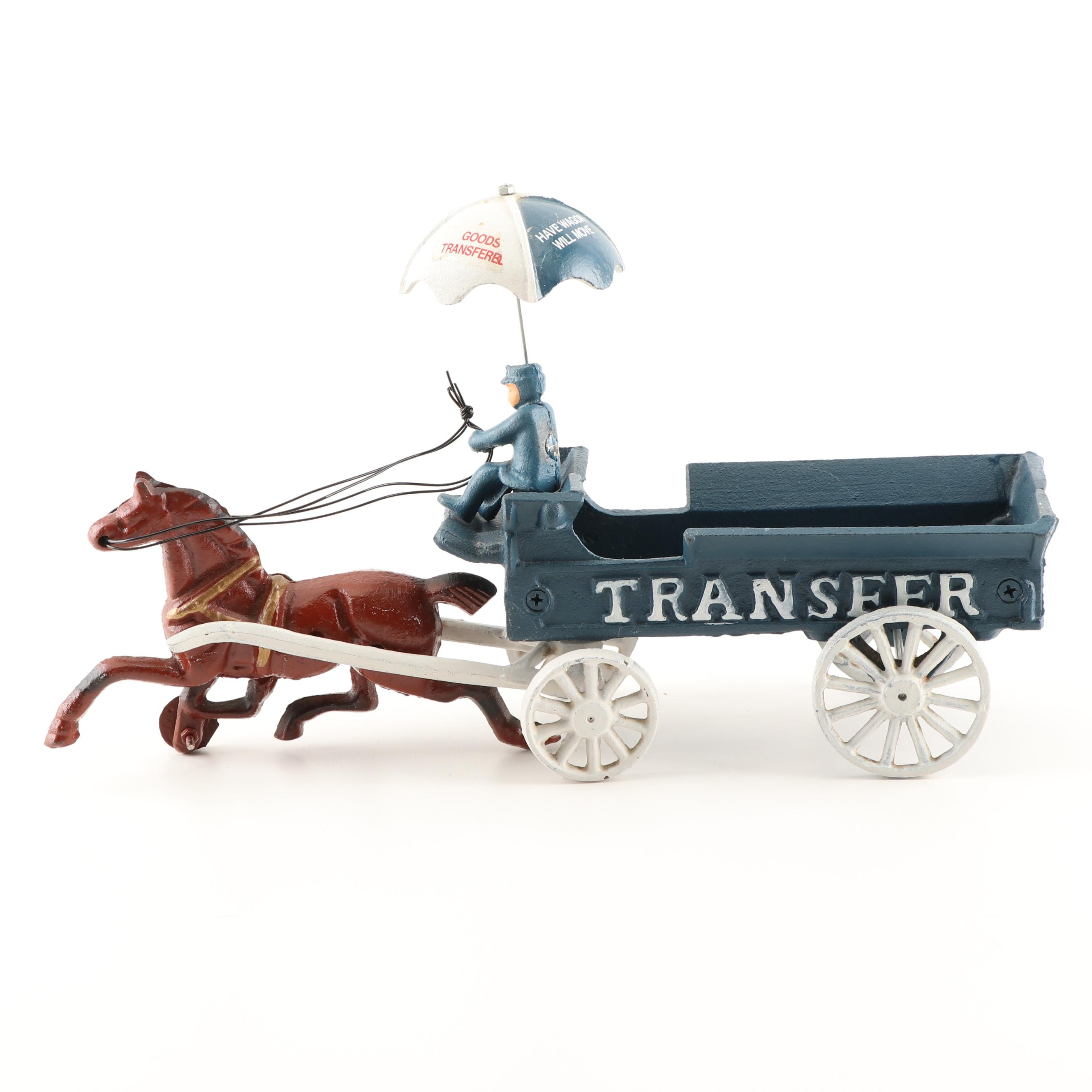 Reproduction Cast Iron Transfer Horse and Wagon