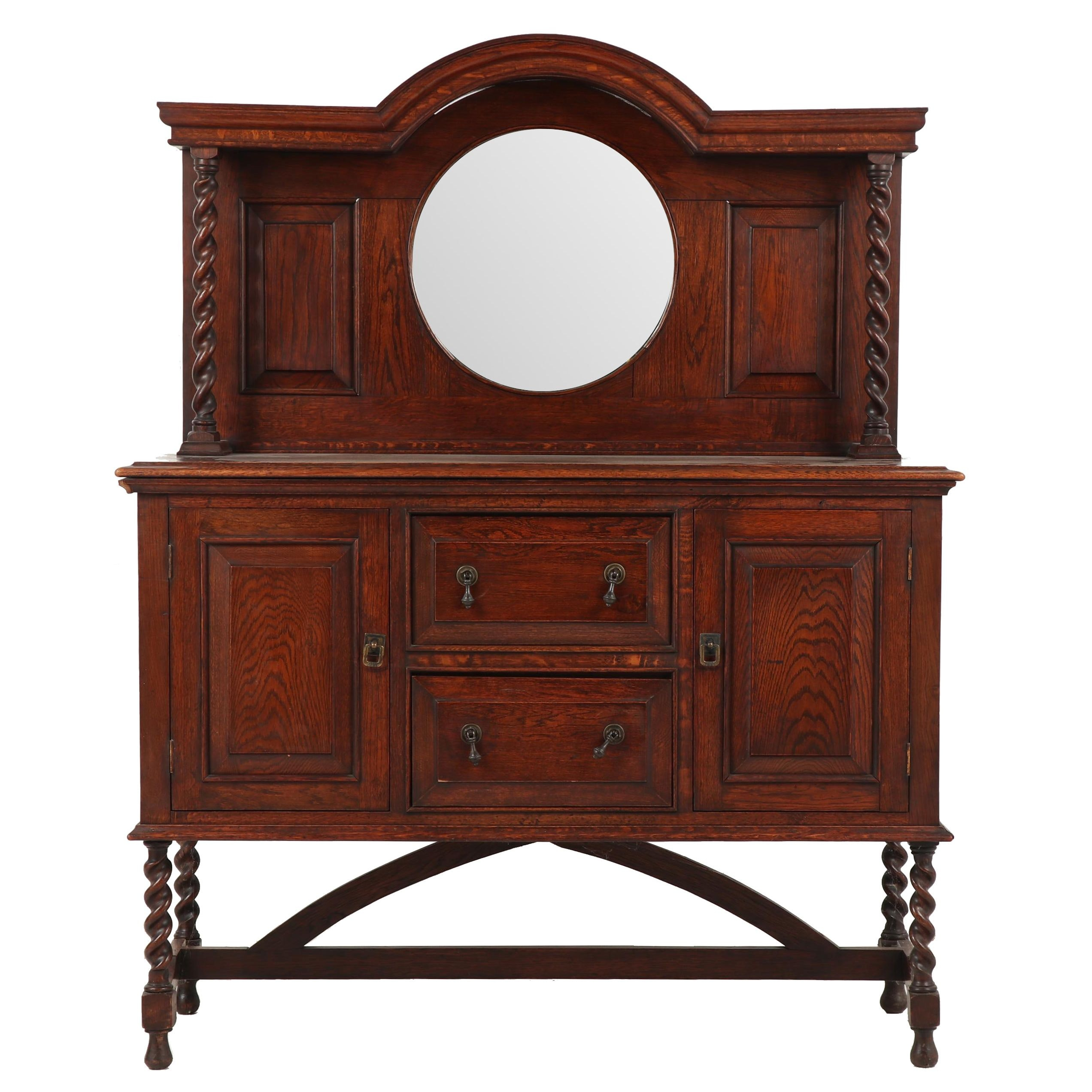 Late Victorian Oak Sideboard with Mirror, Early 20th Century