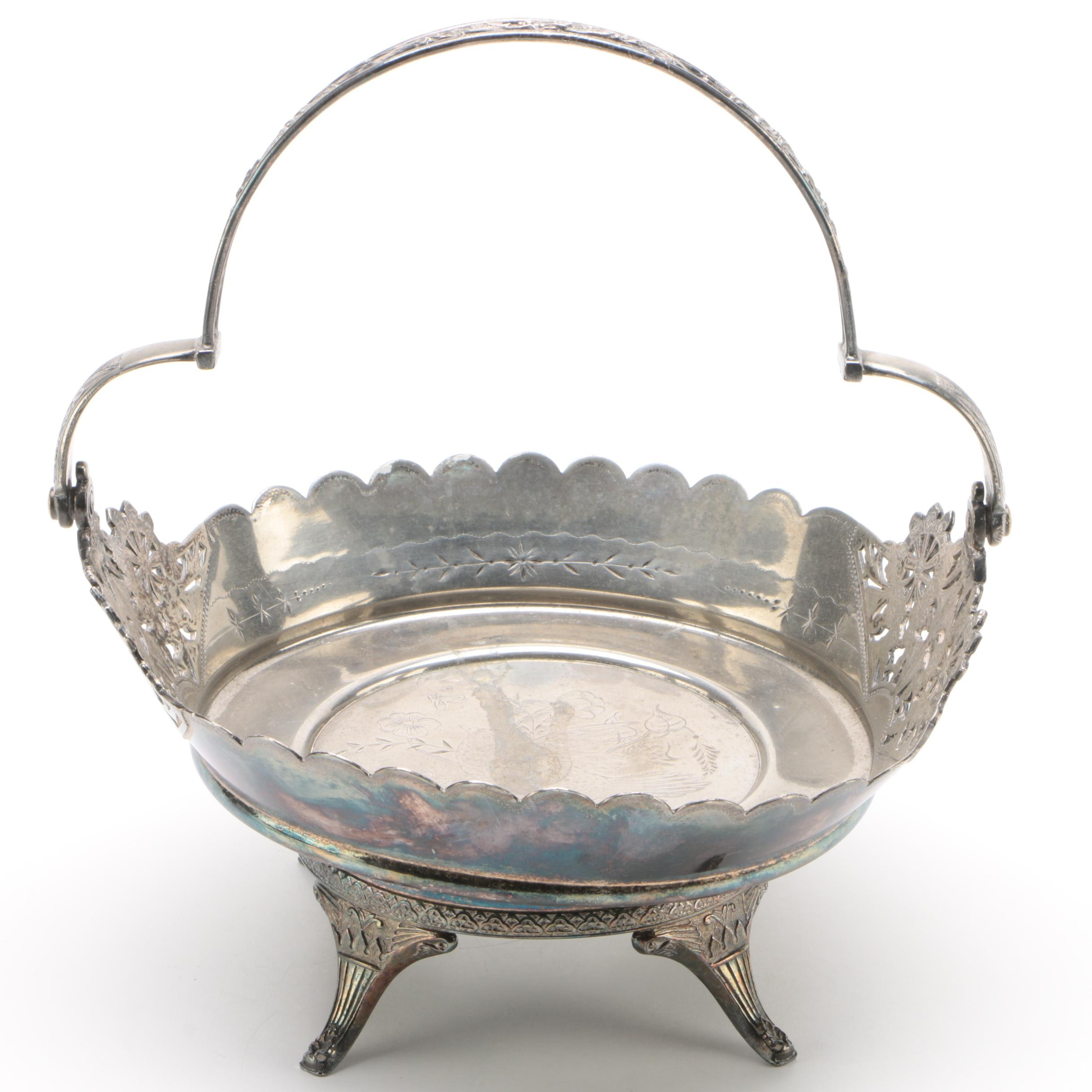 Wilcox Aesthetic Movement Silver Plate Basket, Late Victorian