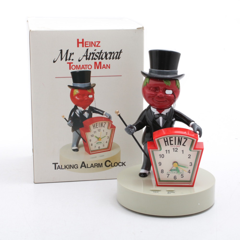 "Heinz ""Mr. Aristocrat Tomato Man"" Talking Alarm Clock, Circa 1980"