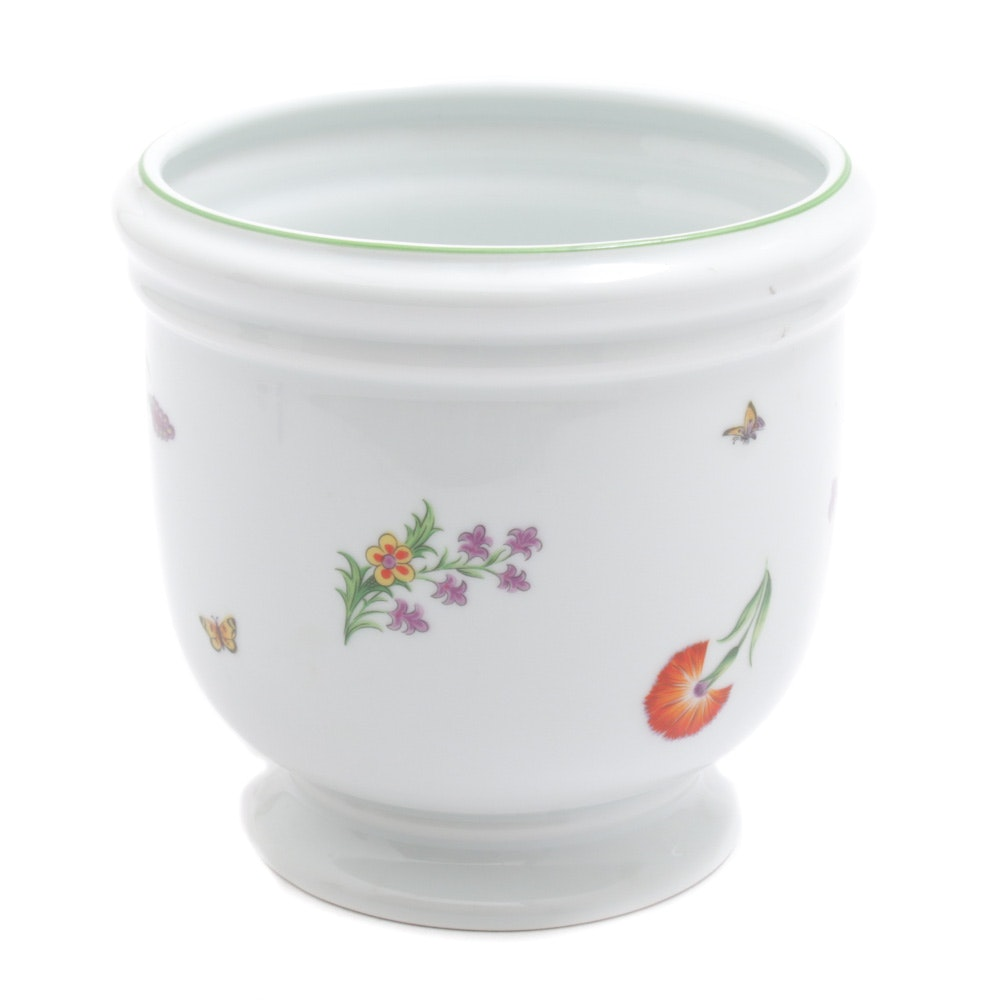 "Tiffany & Co. for Limoges France ""Tiffany Garden"" Porcelain Cache Pot"