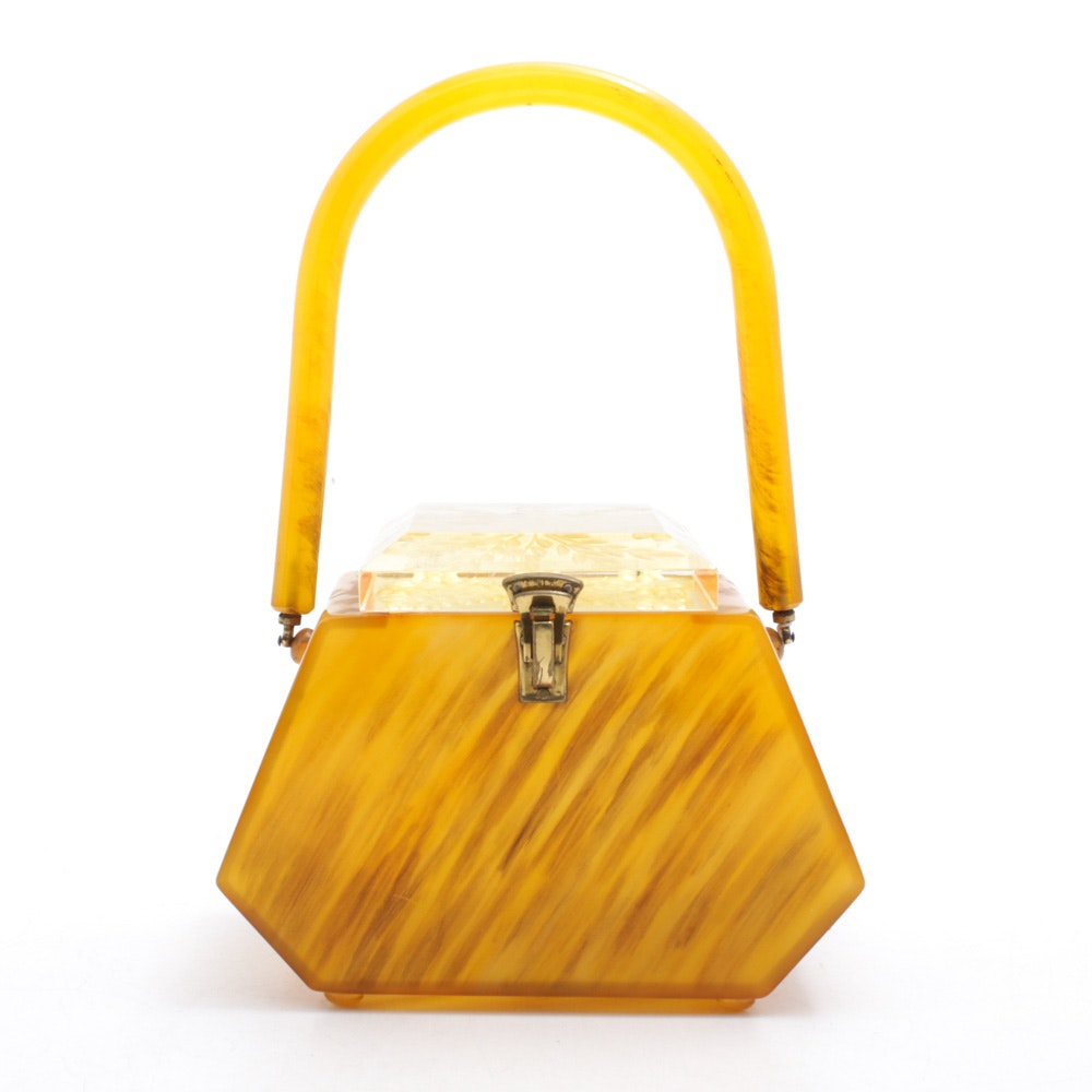 """Llewellyn Inc. """"Lewsid Jewel"""" Lucite Purse with Reverse Carved Lid, Circa 1950"""