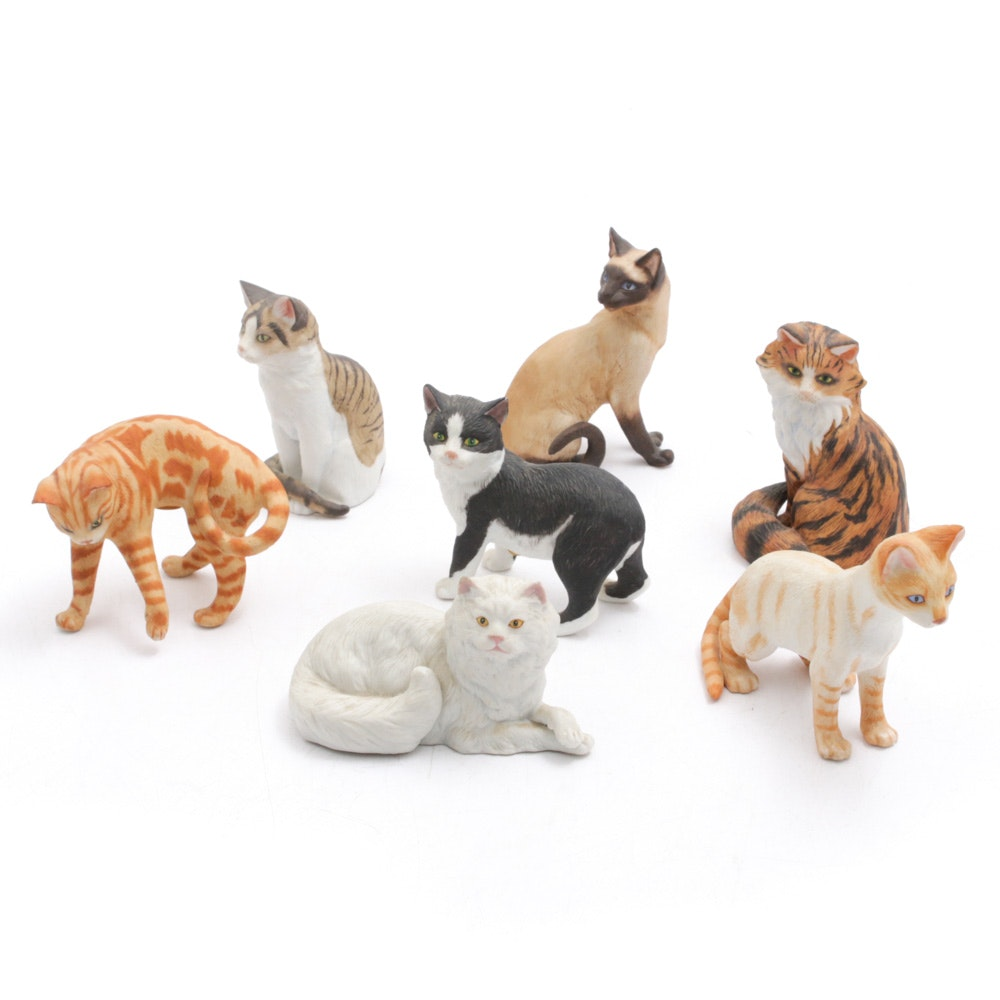Bisque Feline Figurines, Vintage