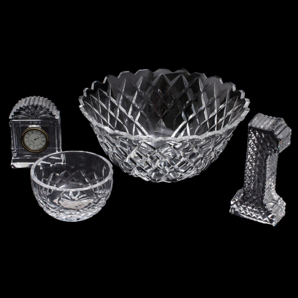 Waterford Crystal Clock, Figurine and Bowls