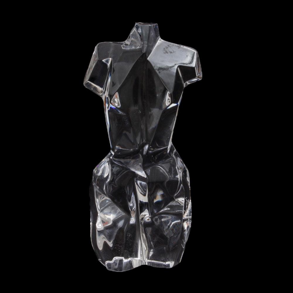 Daum France Artist Signed Crystal Faceted Bust Figurine