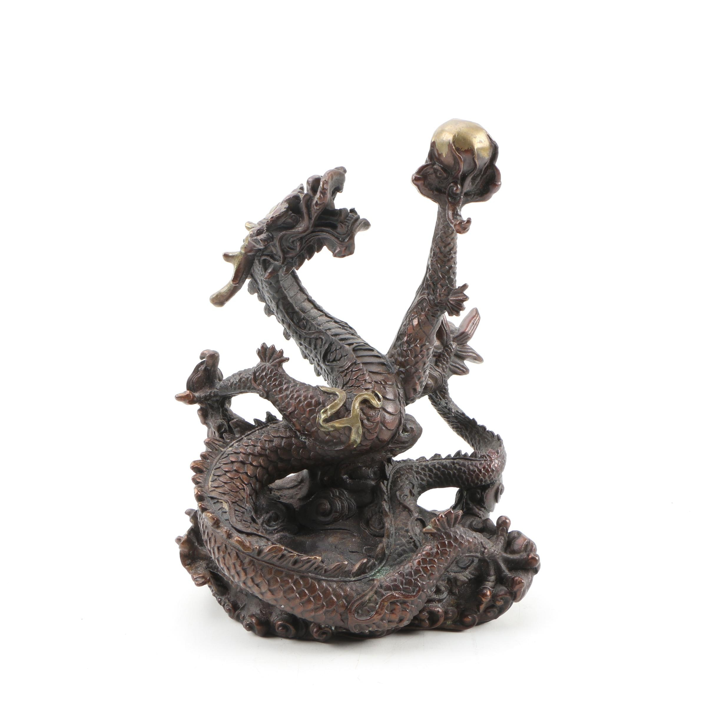 Chinese Cast Metal Dragon Sculpture