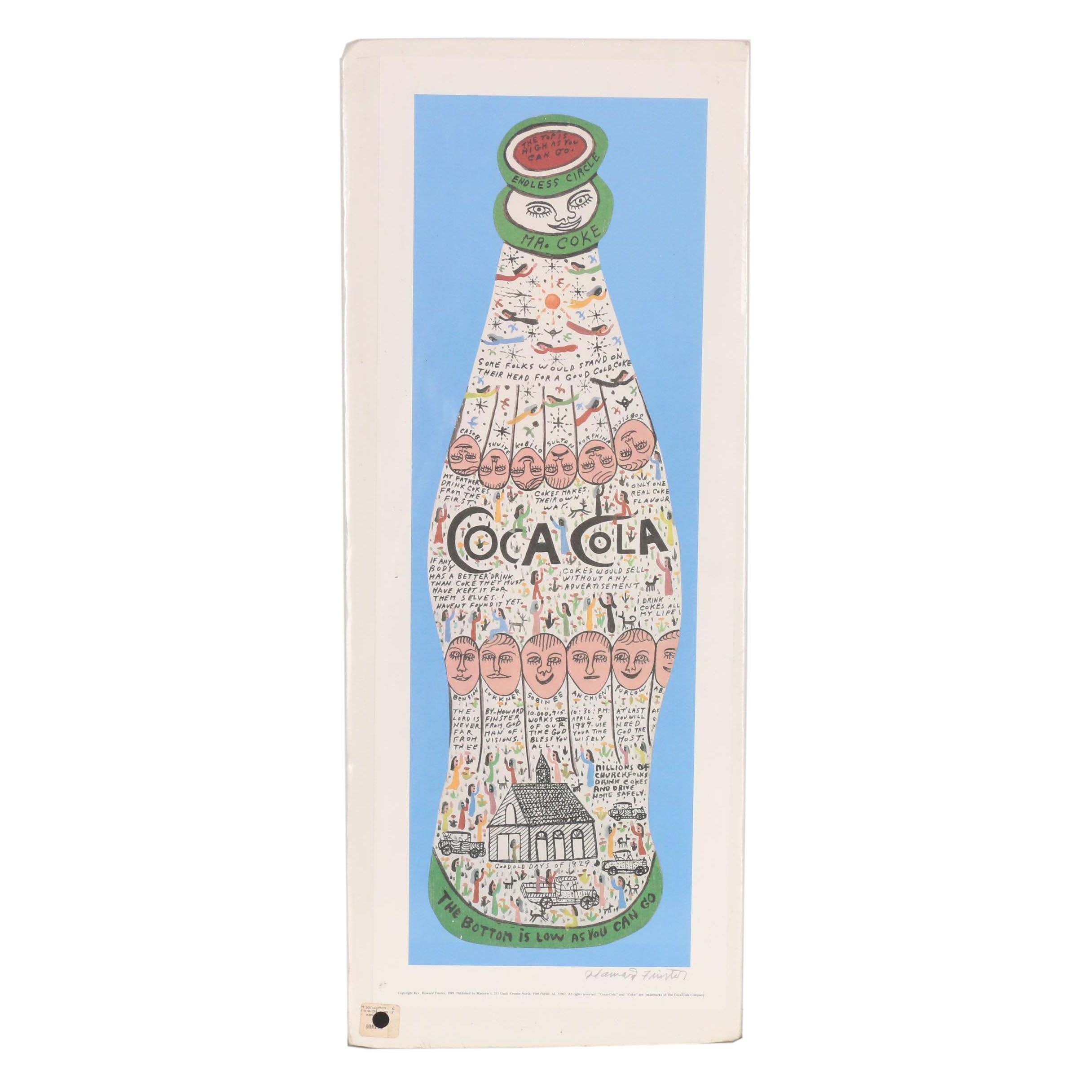 Howard Finster Offset Lithograph from Coca-Cola Bottle Series