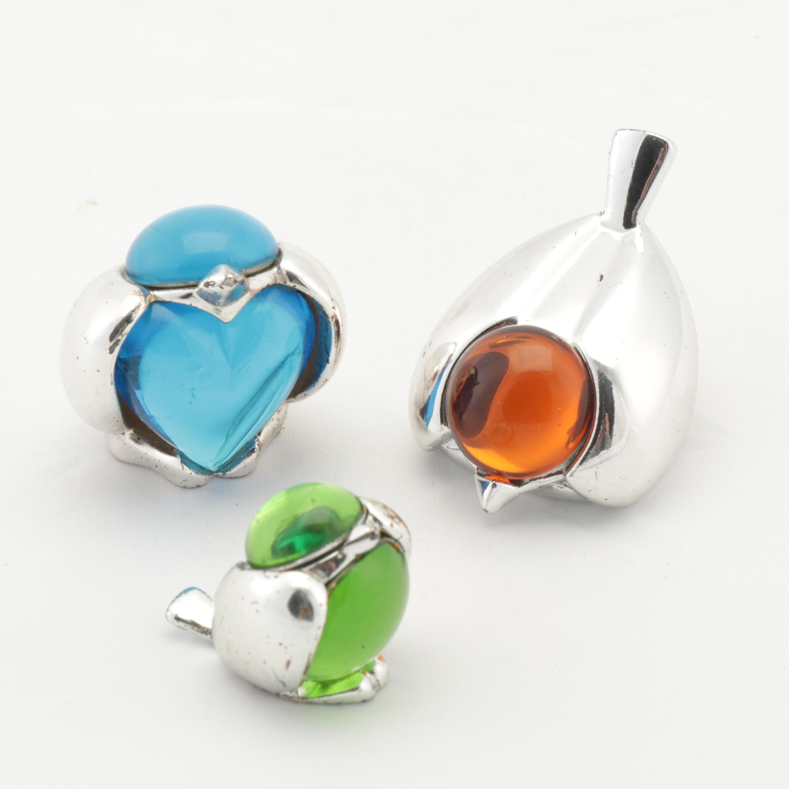 Christofle Silver Plated Glass Bird Paperweights