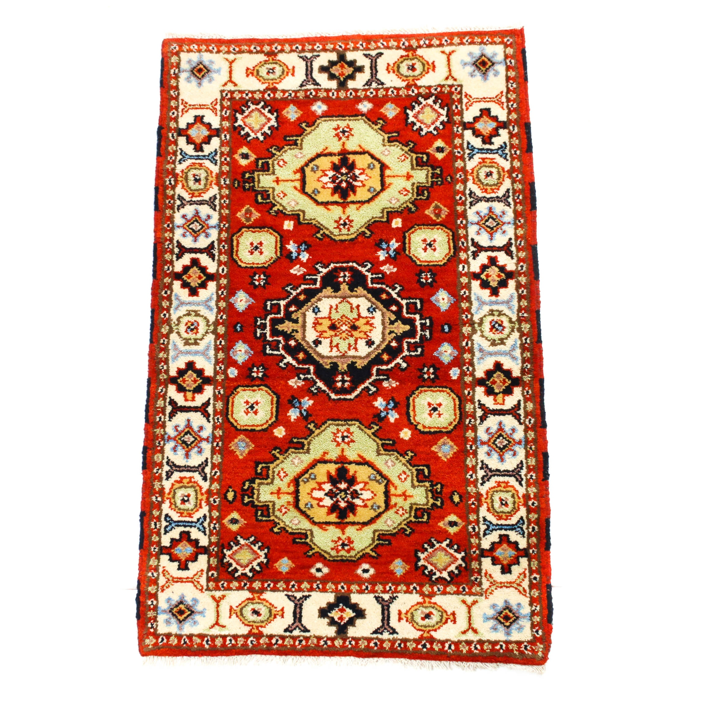 3'2 x 5'6 Hand-Knotted Indo-Caucasian Kazak Wool Rug