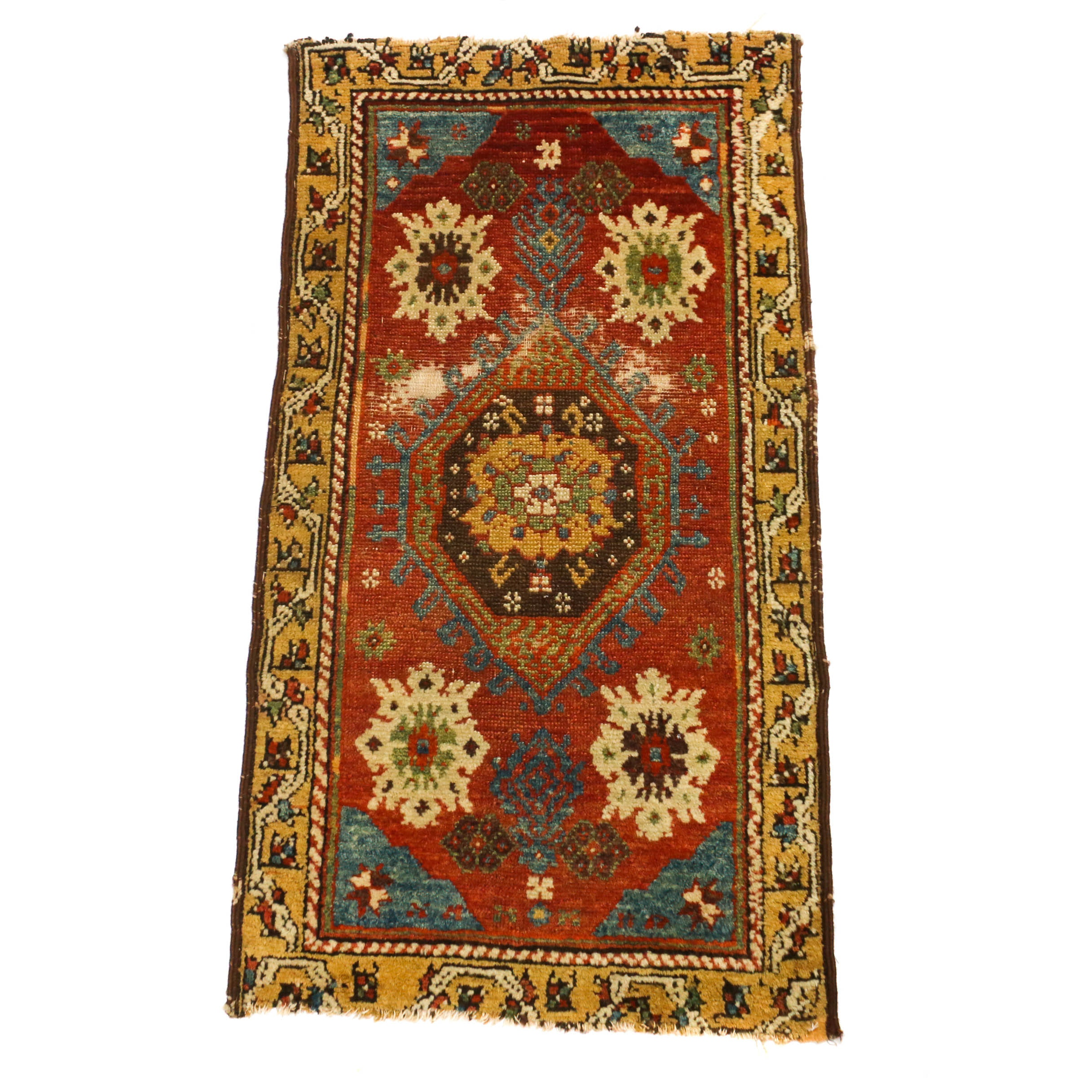 1'9 x 3'3 Hand-Knotted Turkish Oushak Wool Rug, Circa 1910