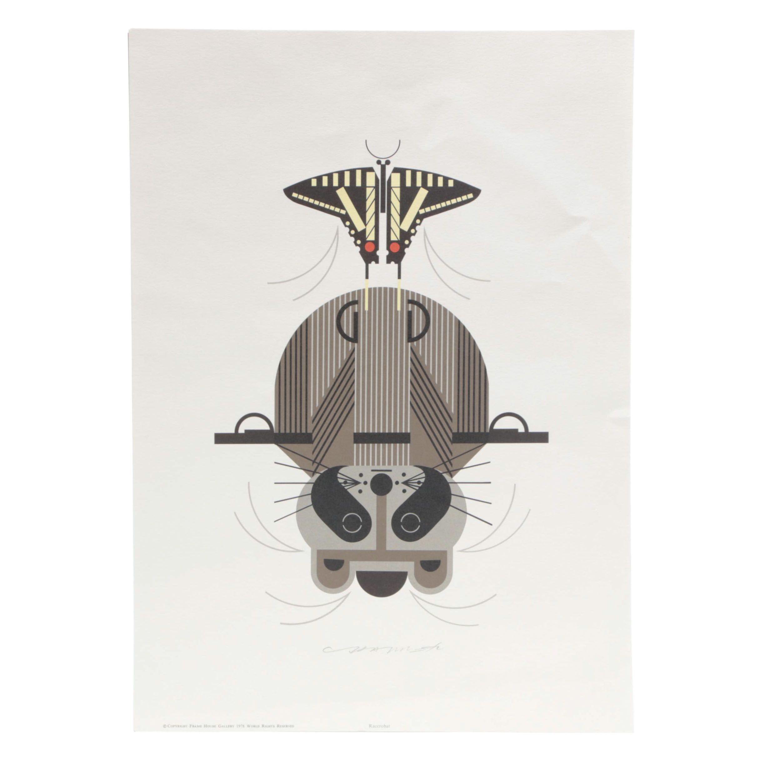 "Charley Harper Lithograph ""Raccrobat"""