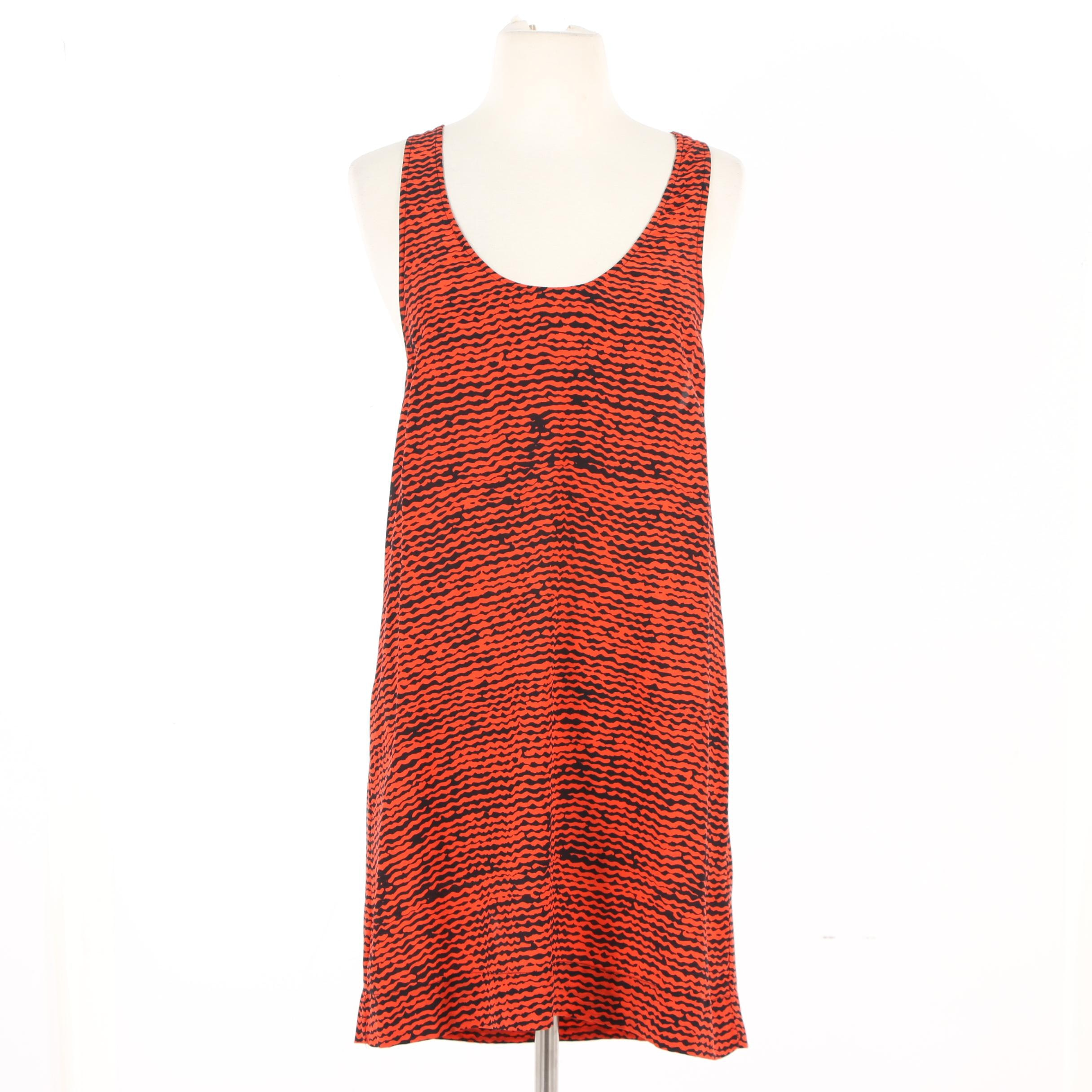 Joie Tomato Red and Black Silk Racerback Dress