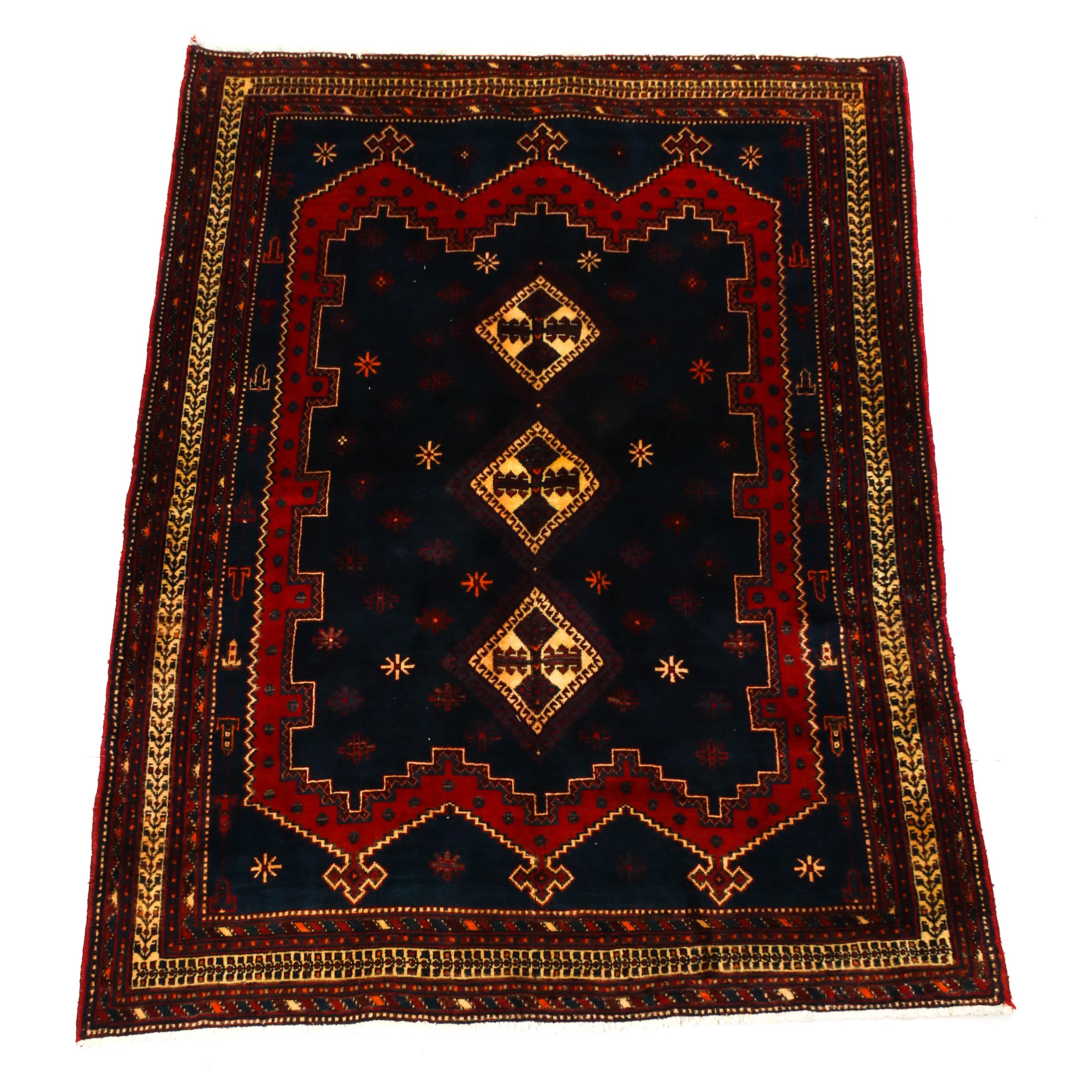 5'4 x 7'1 Hand-Knotted Persian Afshar Wool Rug