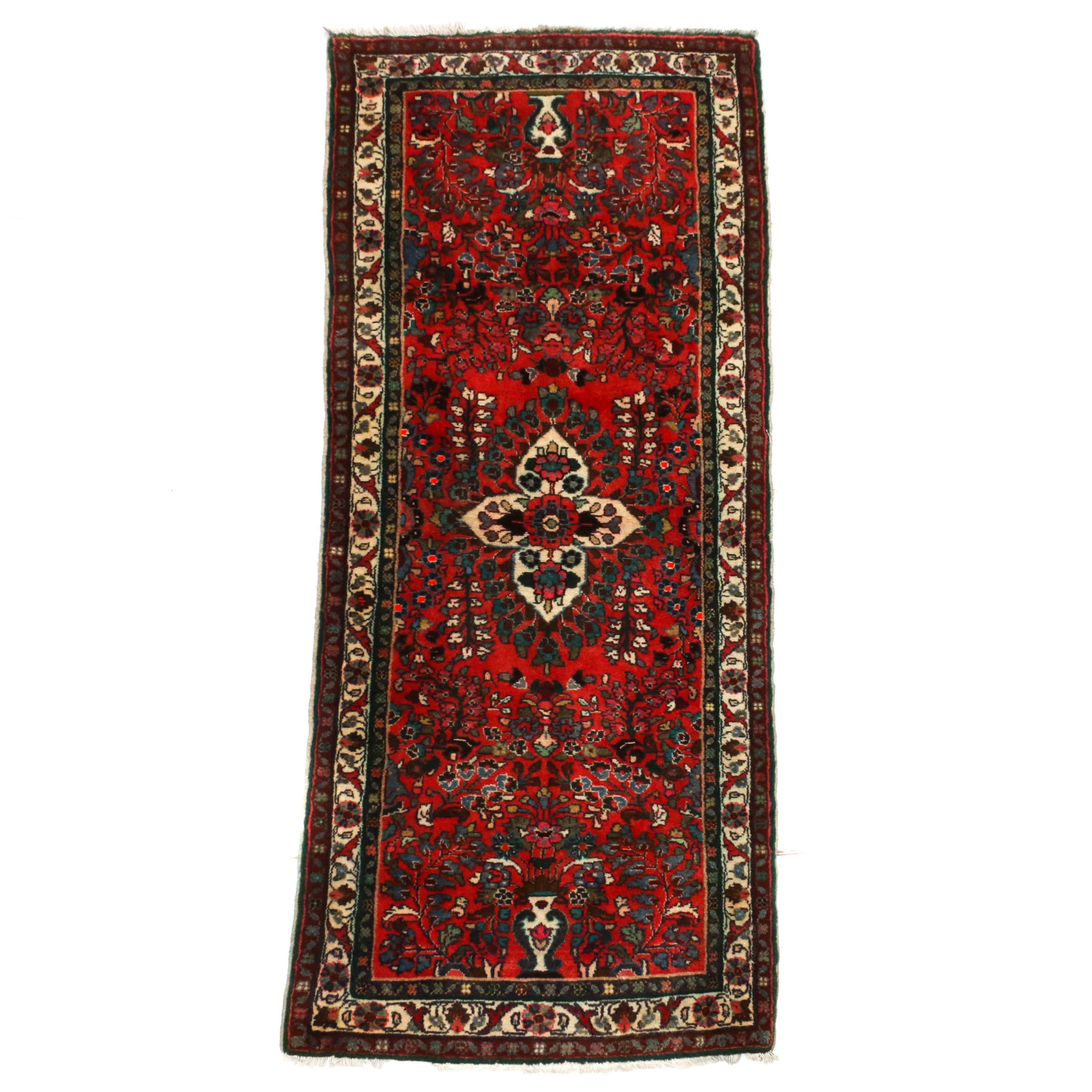 2'9 x 6'10 Hand-Knotted Persian Lilihan Wool Long Rug, Circa 1930