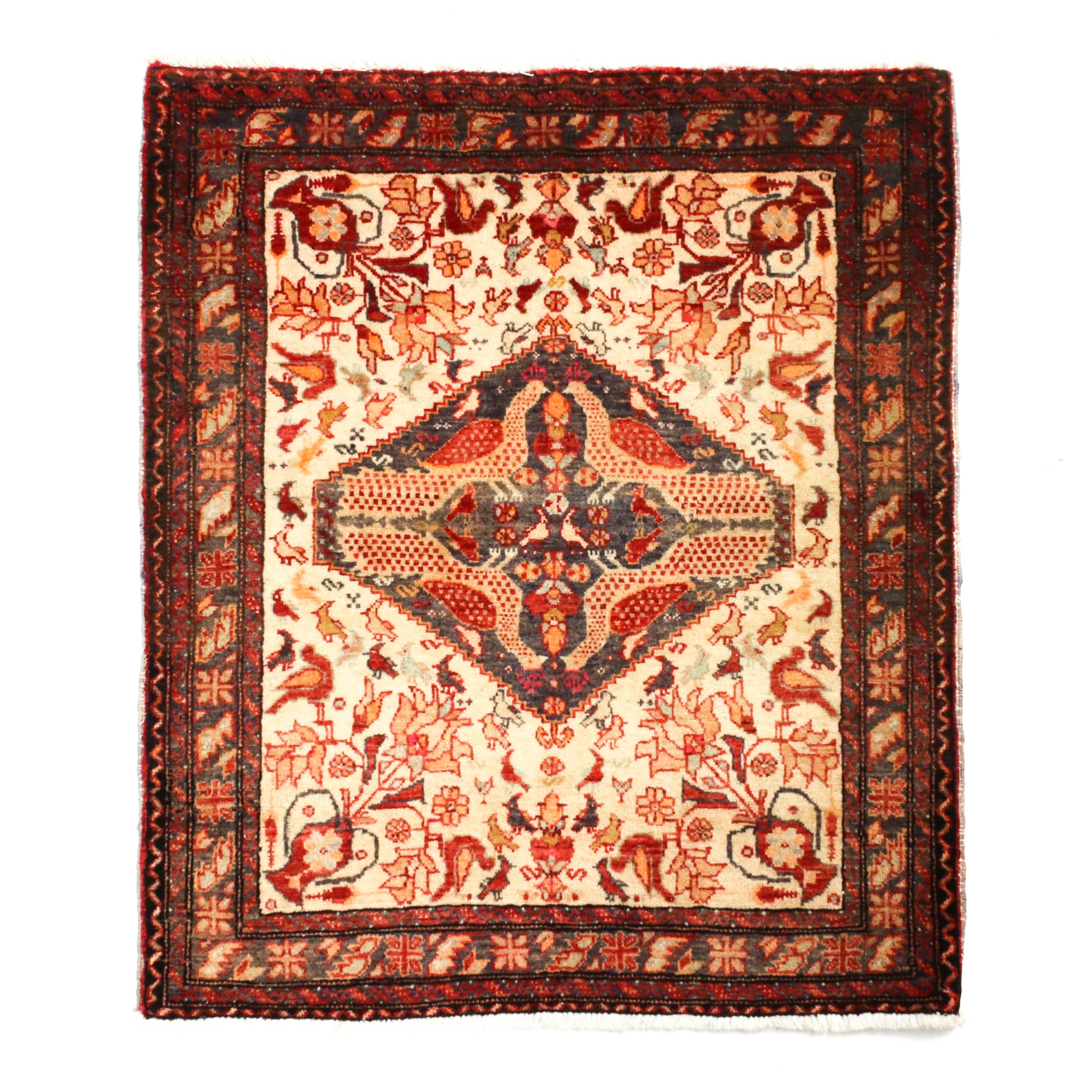 2'3 x 2'10 Hand-Knotted Northwest Persian Pictorial Wool Rug, Circa 1920
