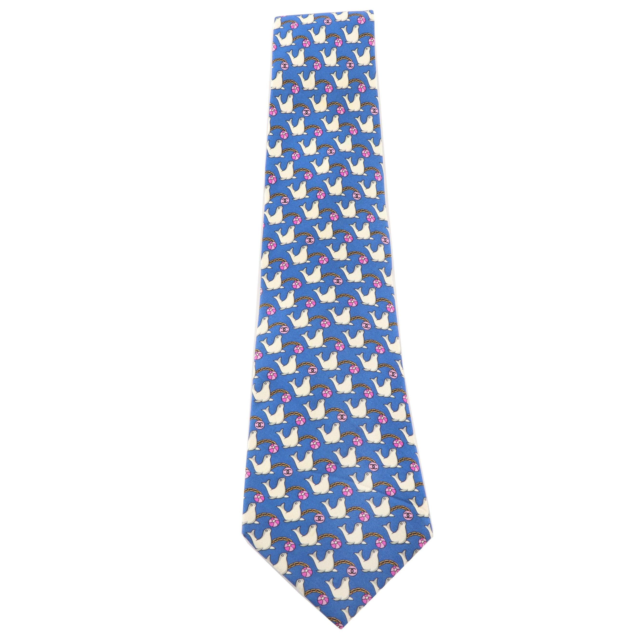 Chanel Paris Seal Print Silk Necktie