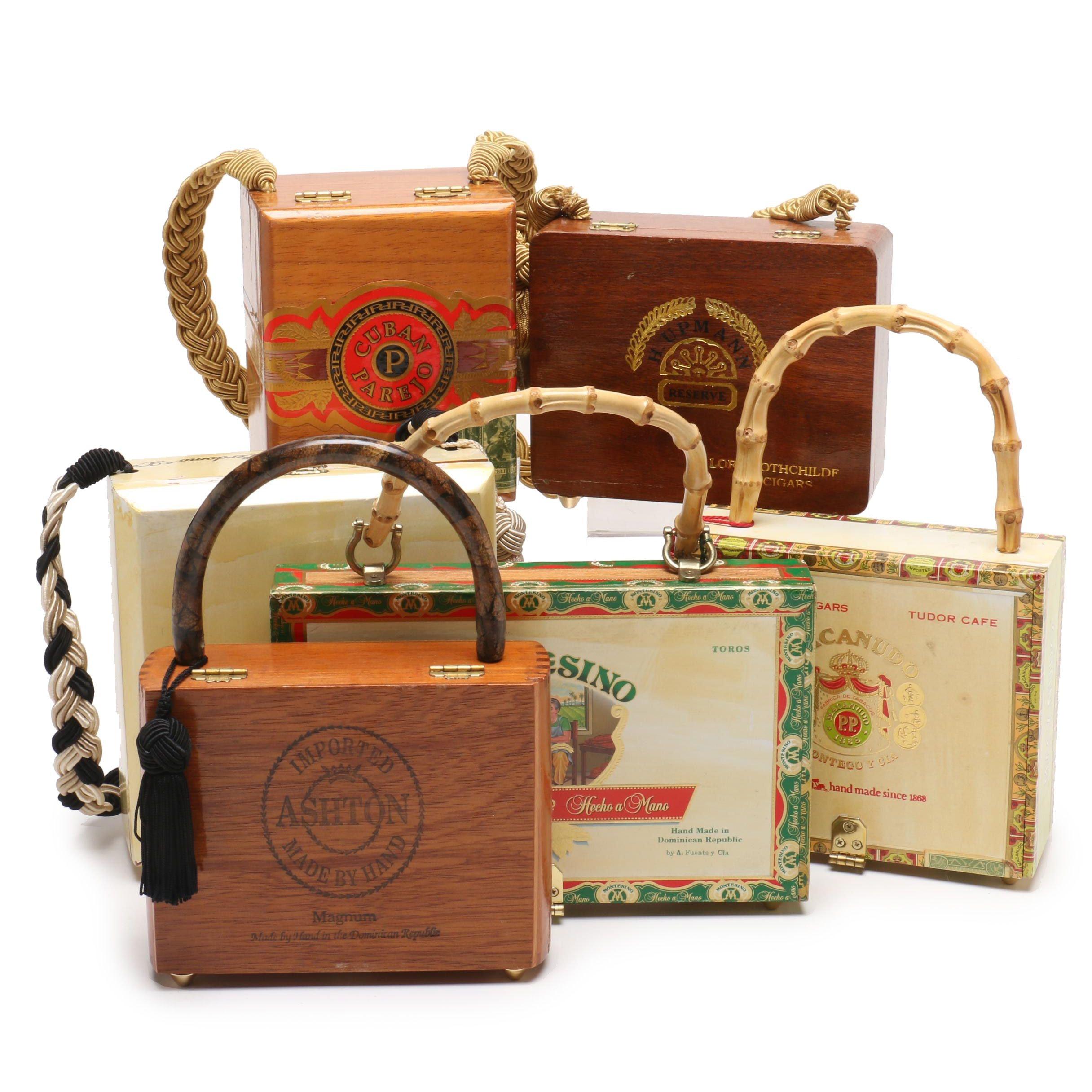 Macanudo Cigar Box Purse and Other Cigar Box Purses, Late 20th Century