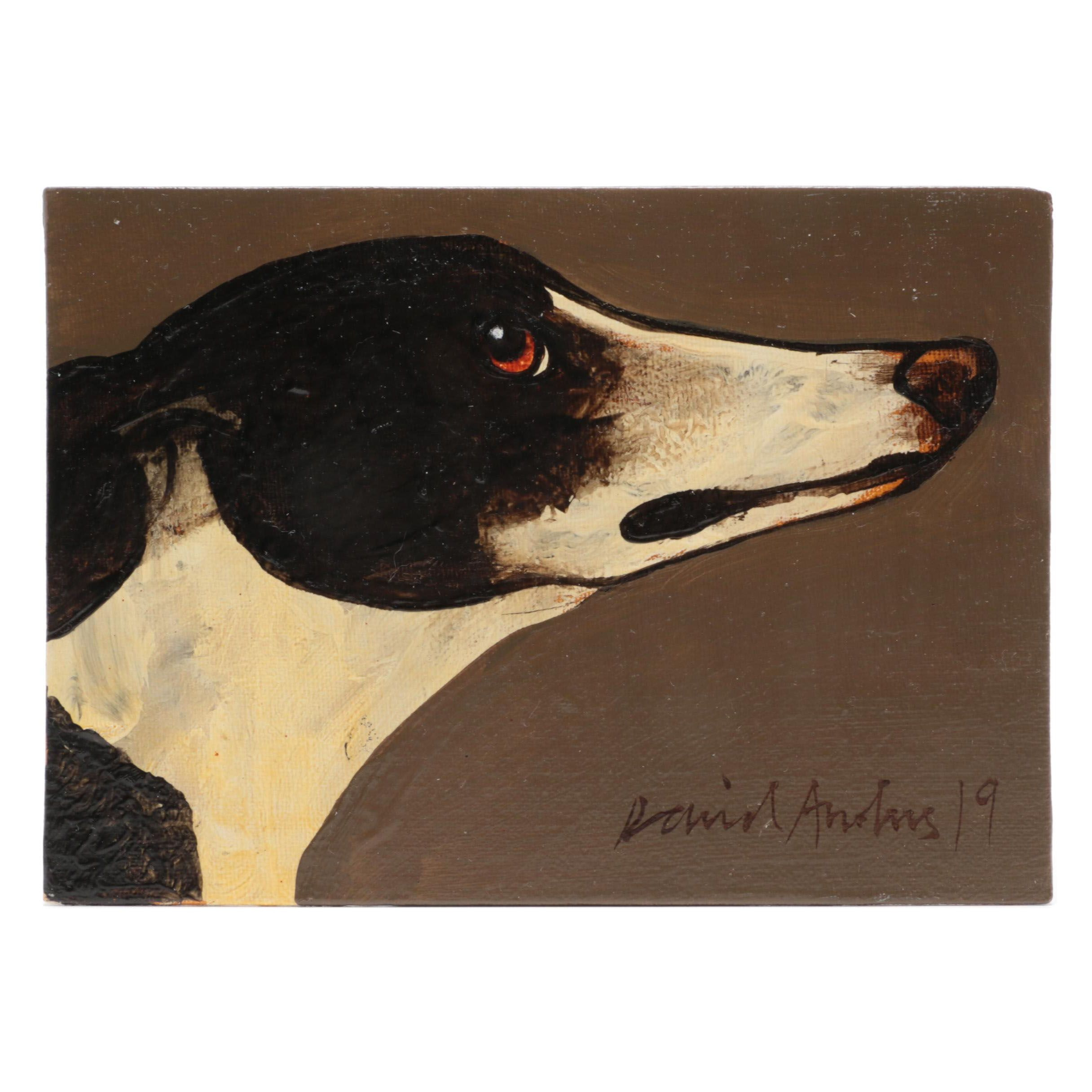 David Andrews Oil Painting of Dog