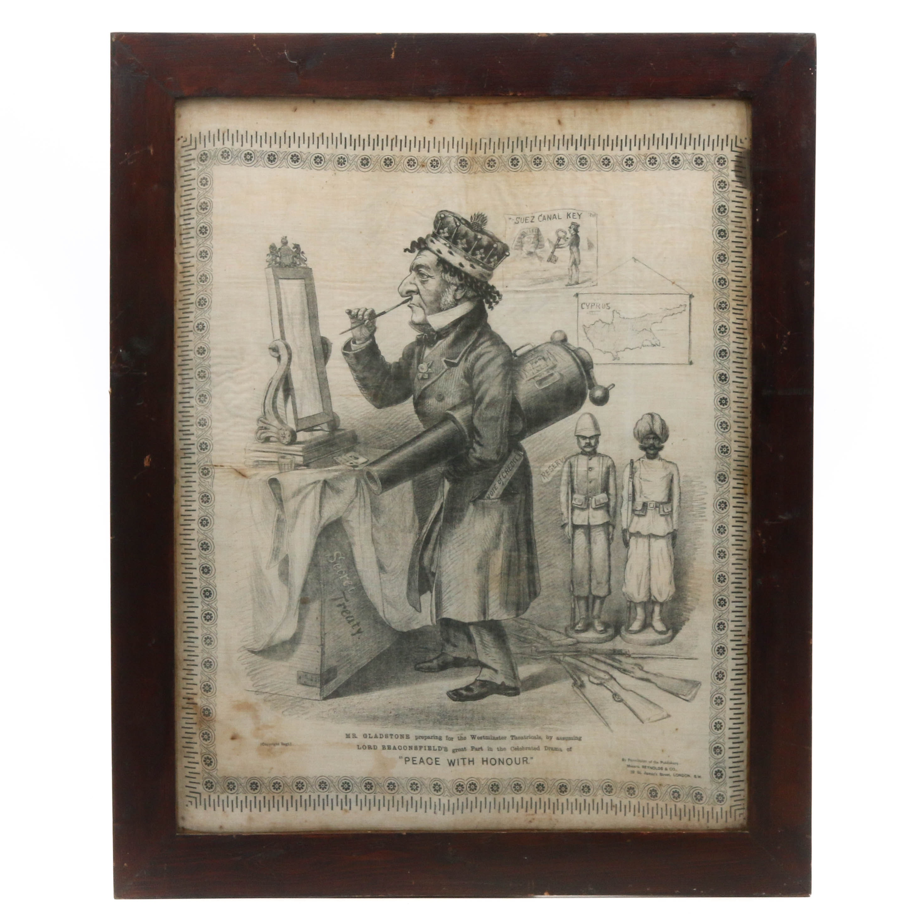 19th Century Editorial Cartoon of Prime Minister Gladstone on Fabric