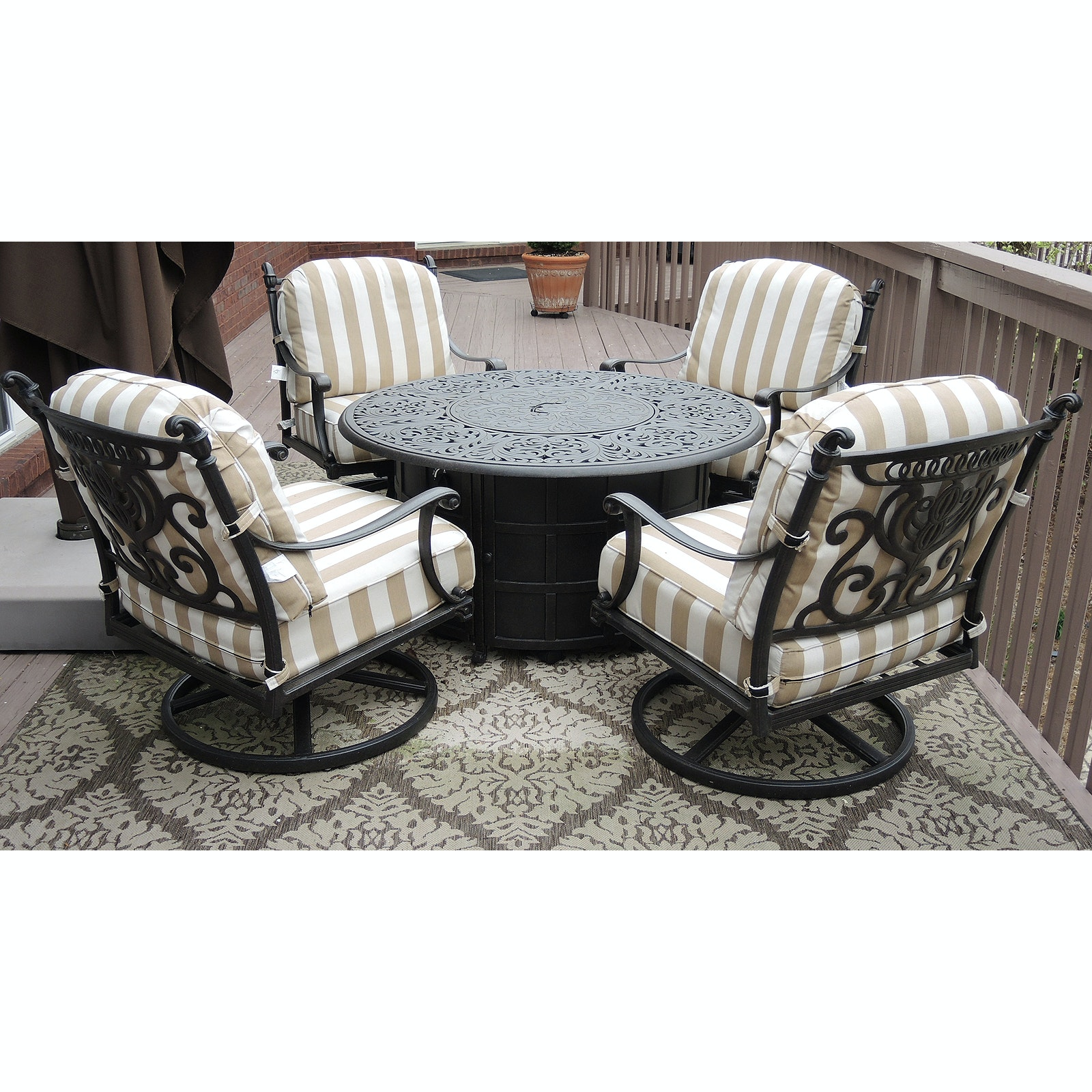"""Hanamint """"Chateau"""" Enclosed Propane Firepit and Swivel Rocker Chairs with Cover"""