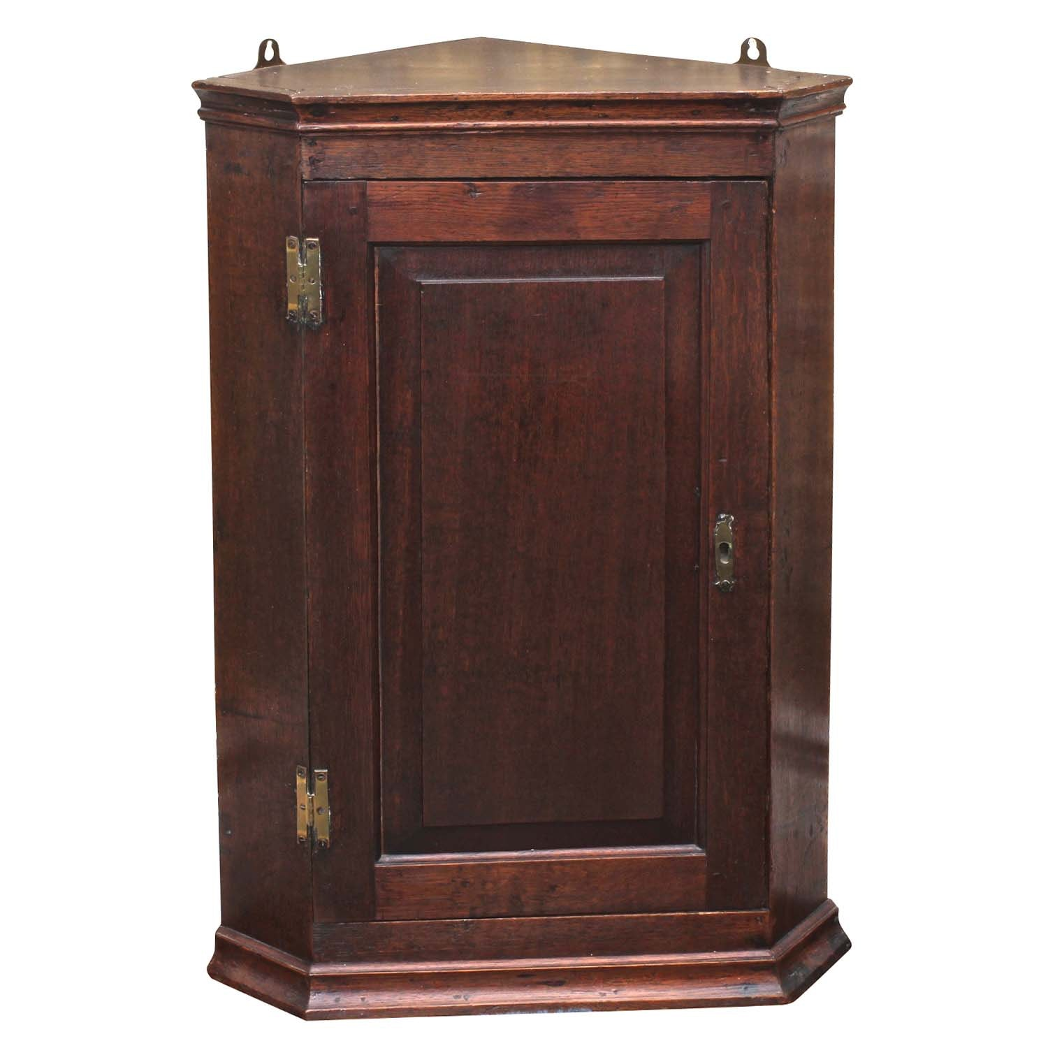 George III Oak Hanging Corner Cabinet, Early to Mid 19th Century