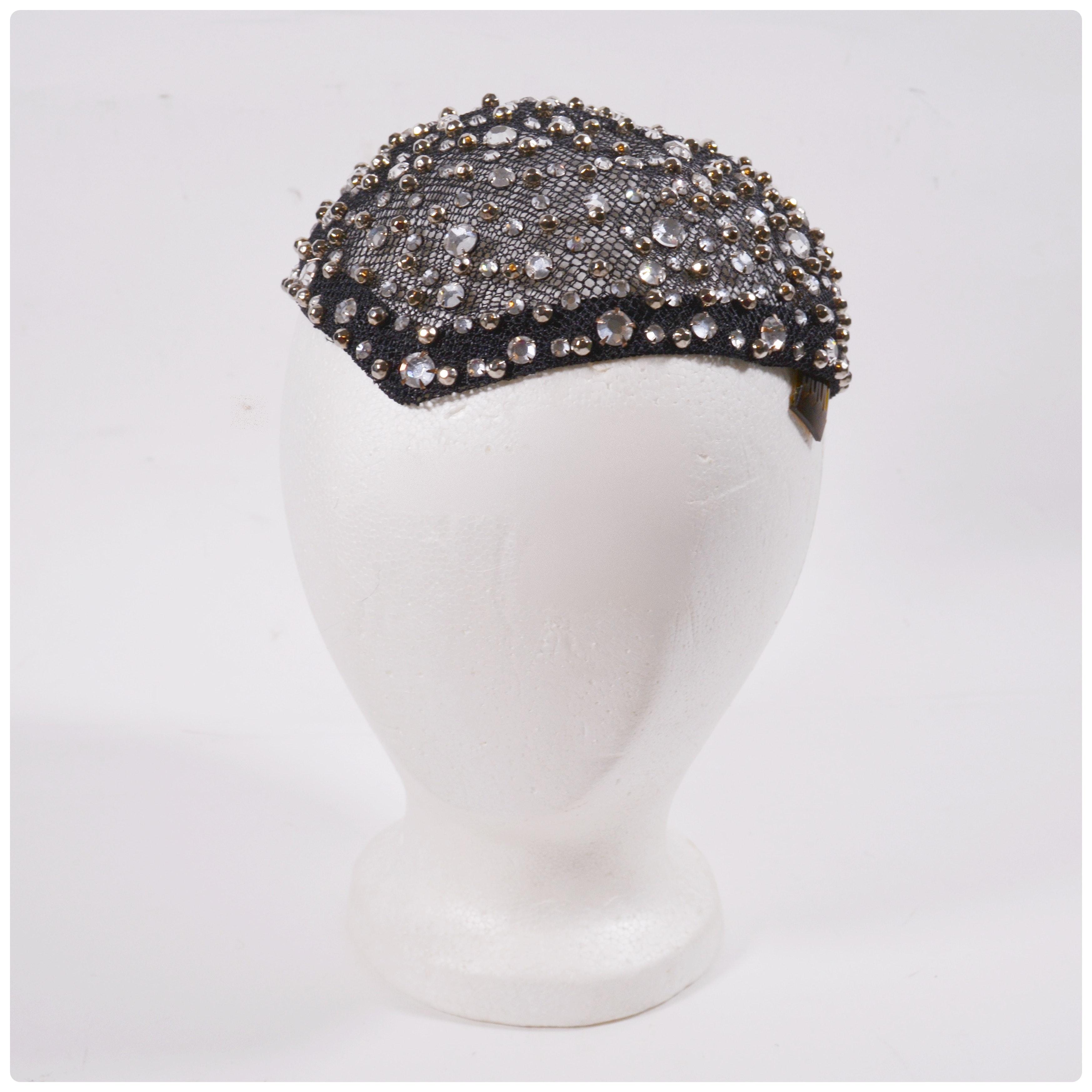 Frank Olive Black Mesh Capulet Embellished with Prong Set Rhinestones, Vintage