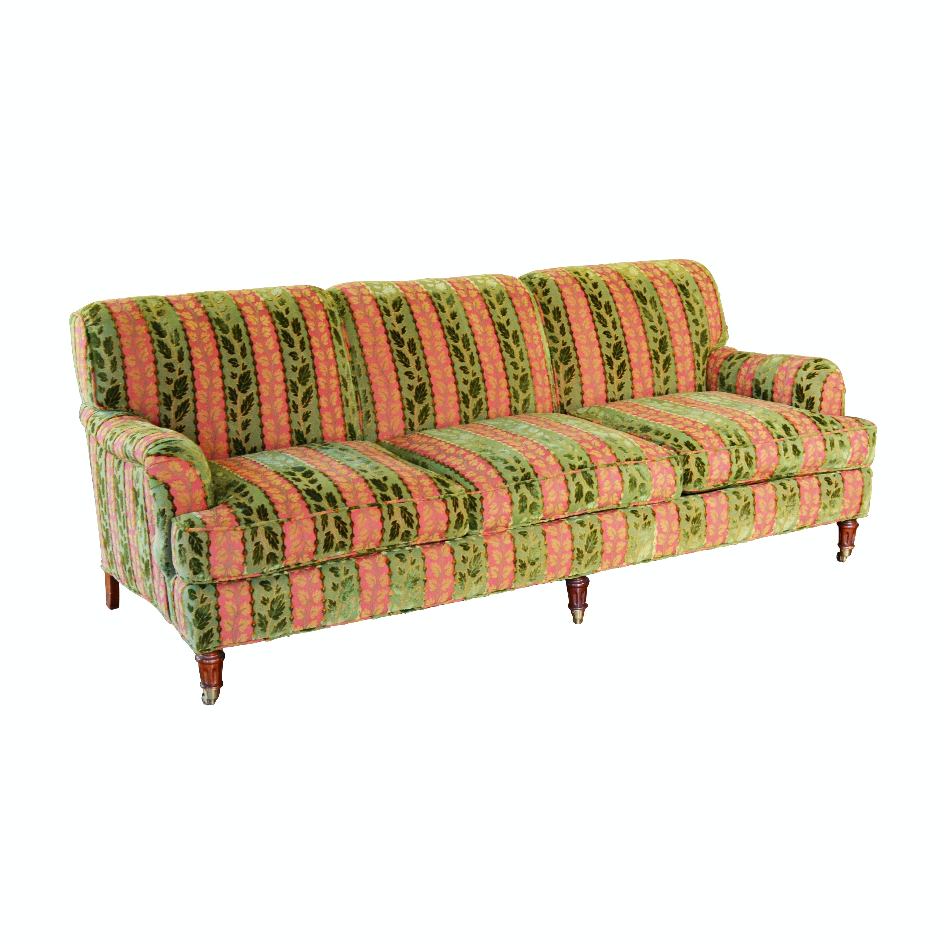 Striped Burnout Velvet Upholstered Sofa, Late 20th Century