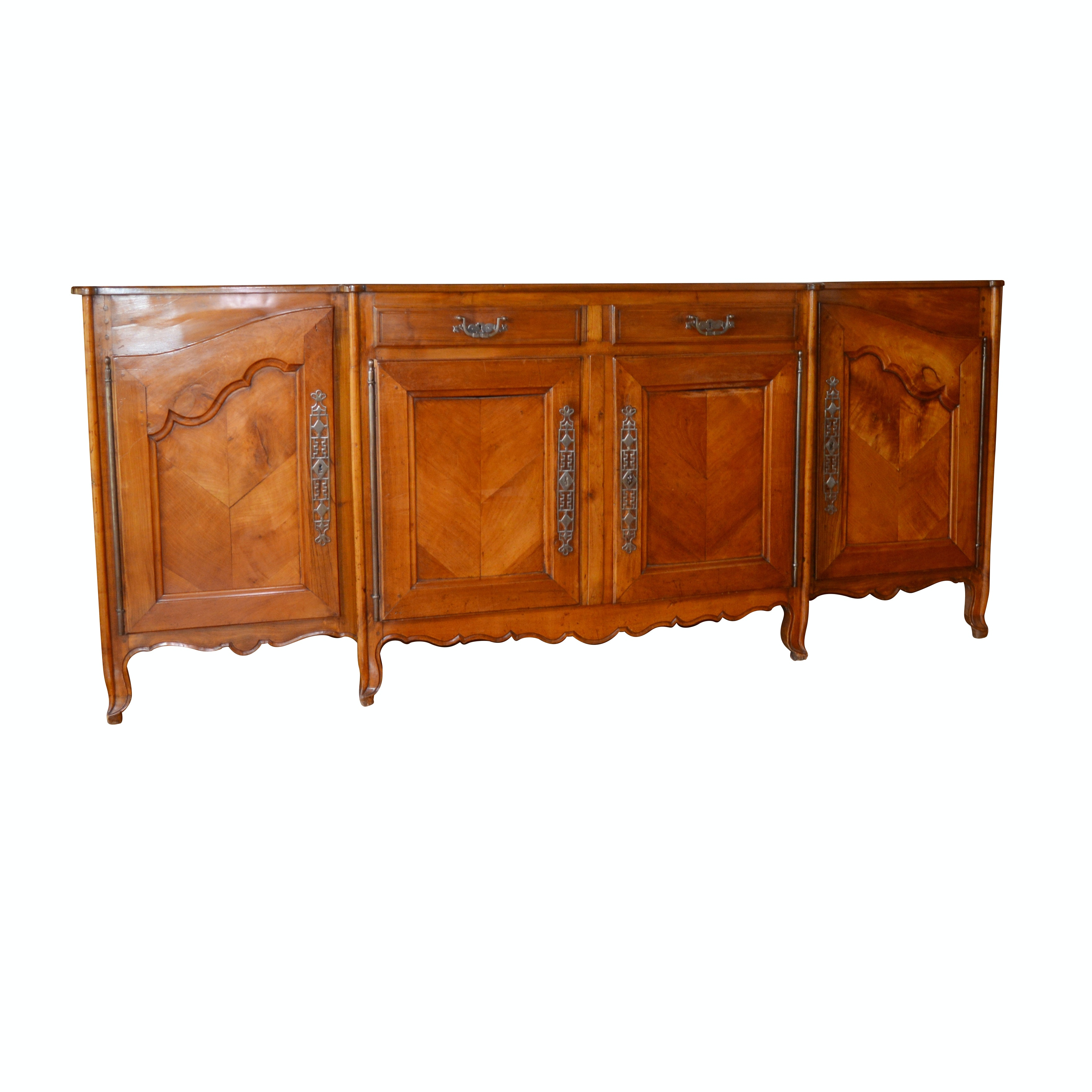 French Provincial Louis XV Style Walnut Buffet with Pewter Pulls, Circa 1850
