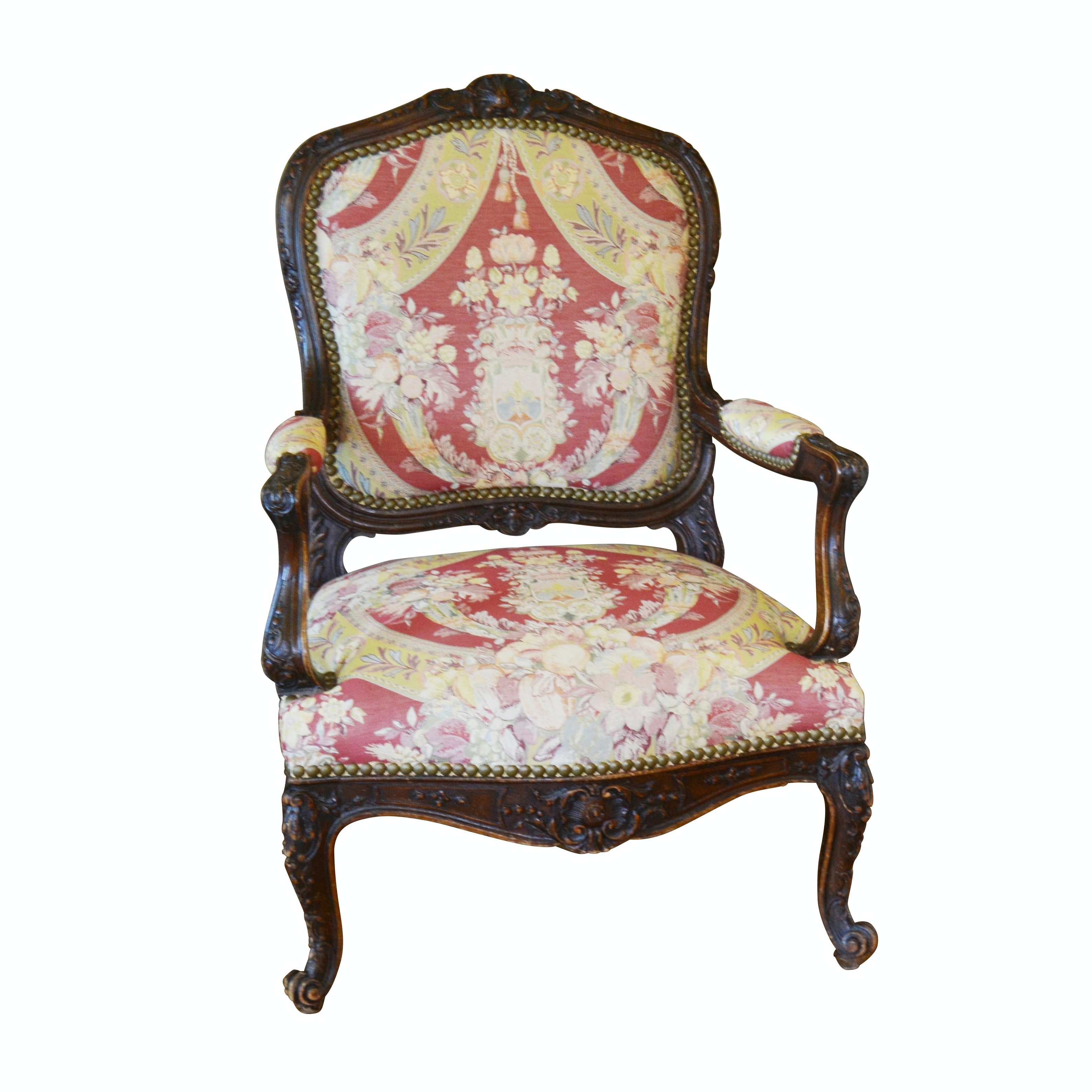 Louis XV Style Carved Fauteuil Armchair