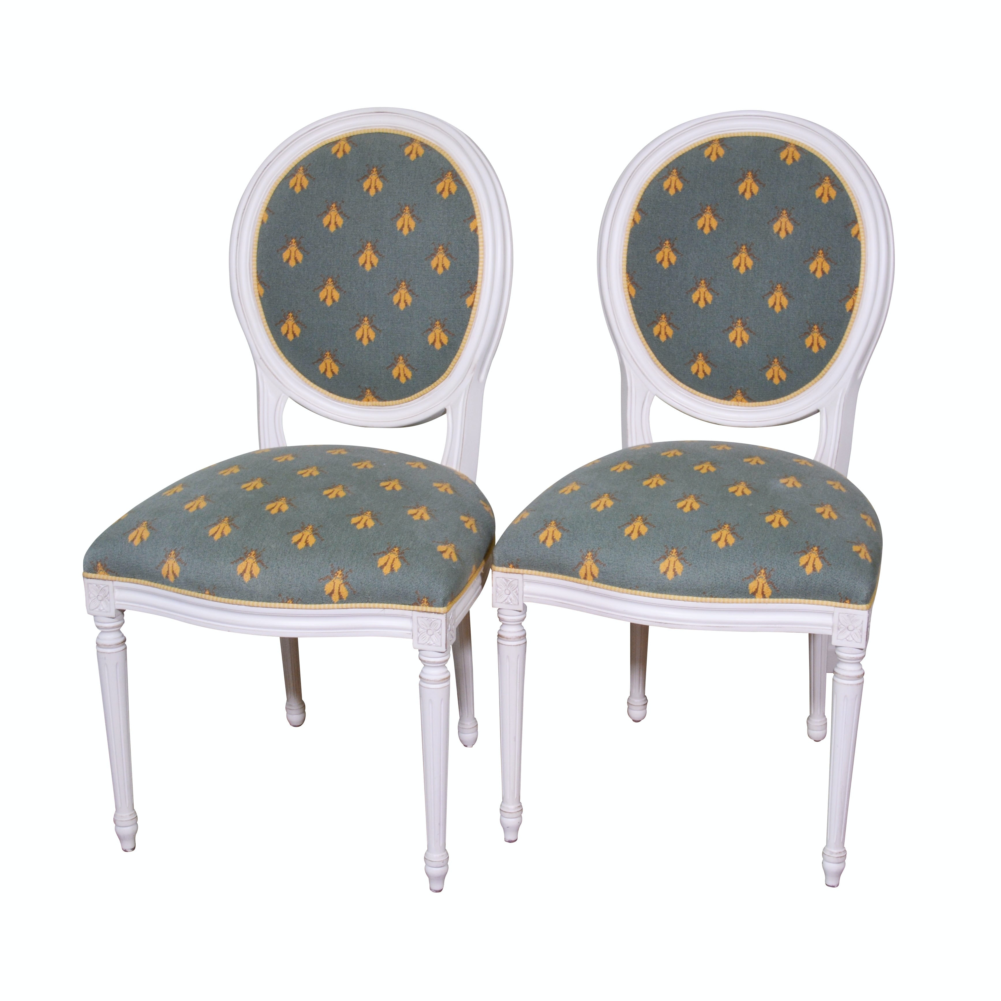 Louis XVI Style Bumble Bee Needlepoint Side Chairs, Pair, 20th Century
