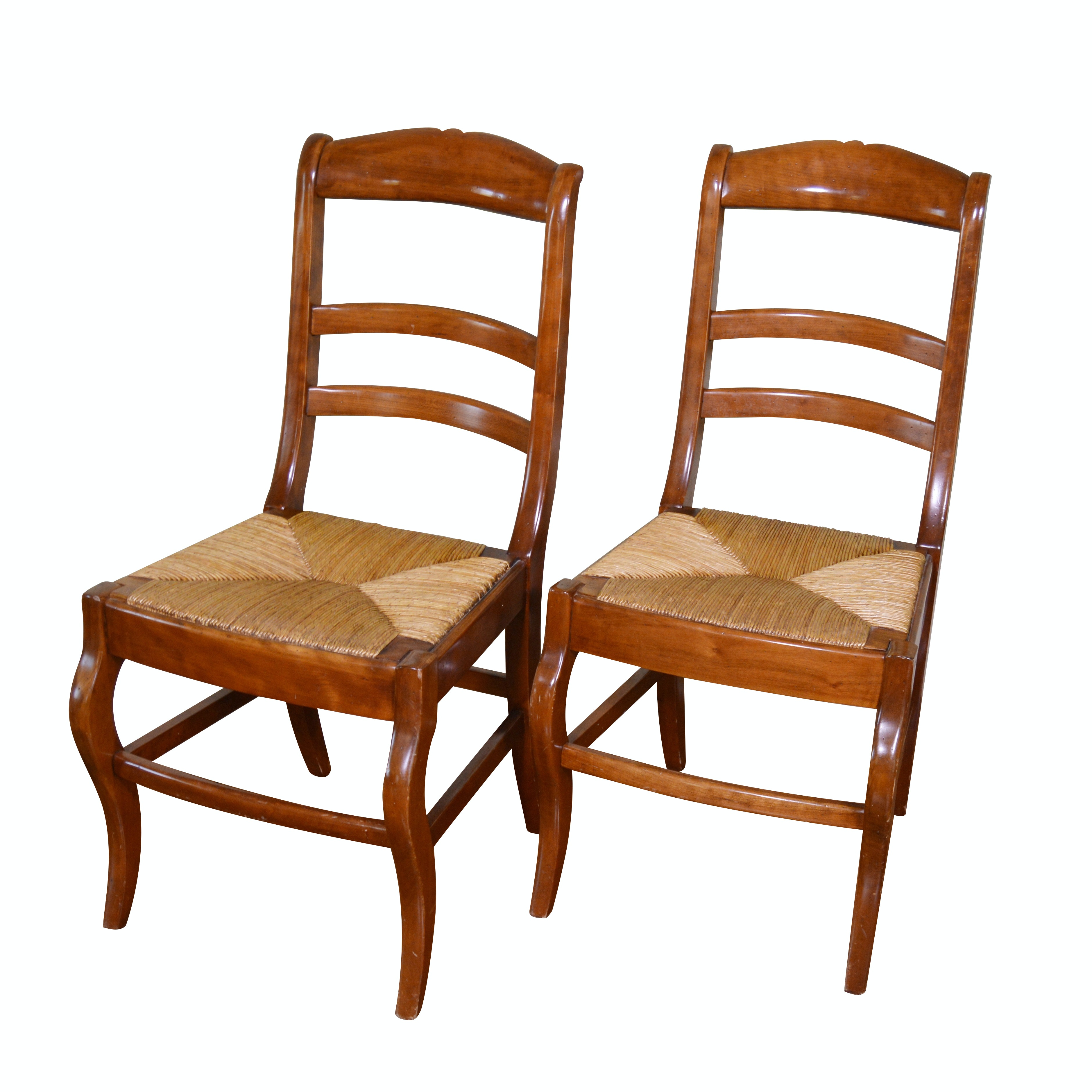 Ladder Back Rush Seat Side Chairs, Pair, 20th Century