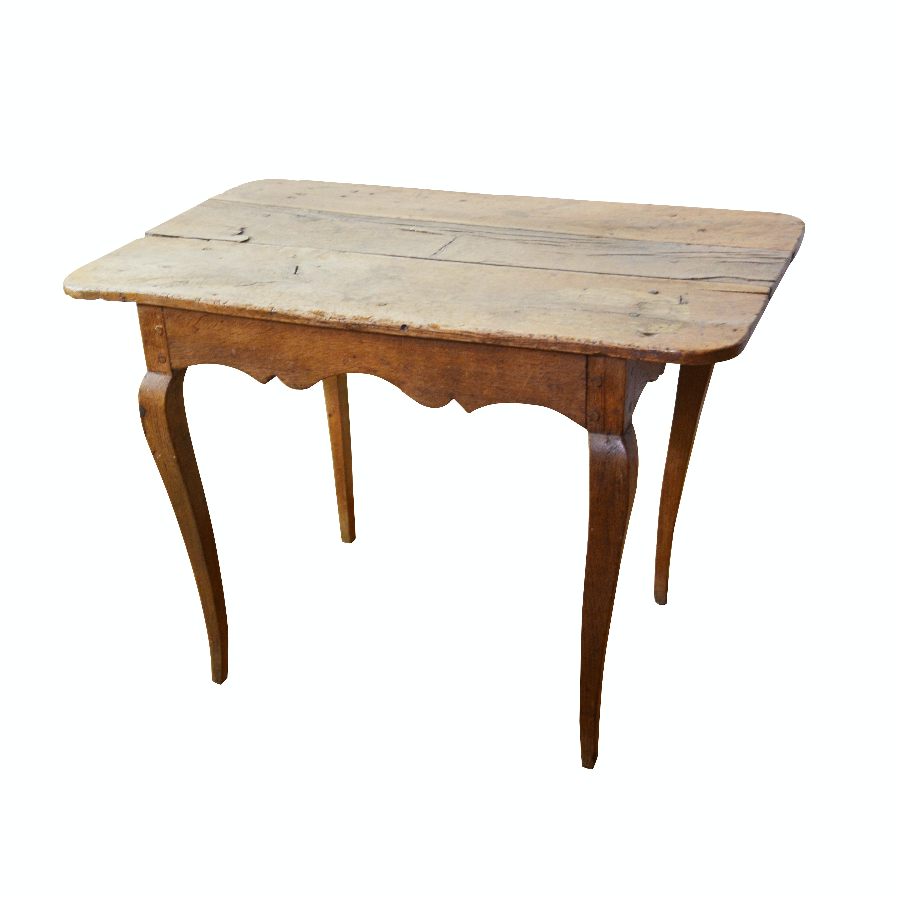 French Provincial Louis XV Style Oak Table, Mid 19th Century