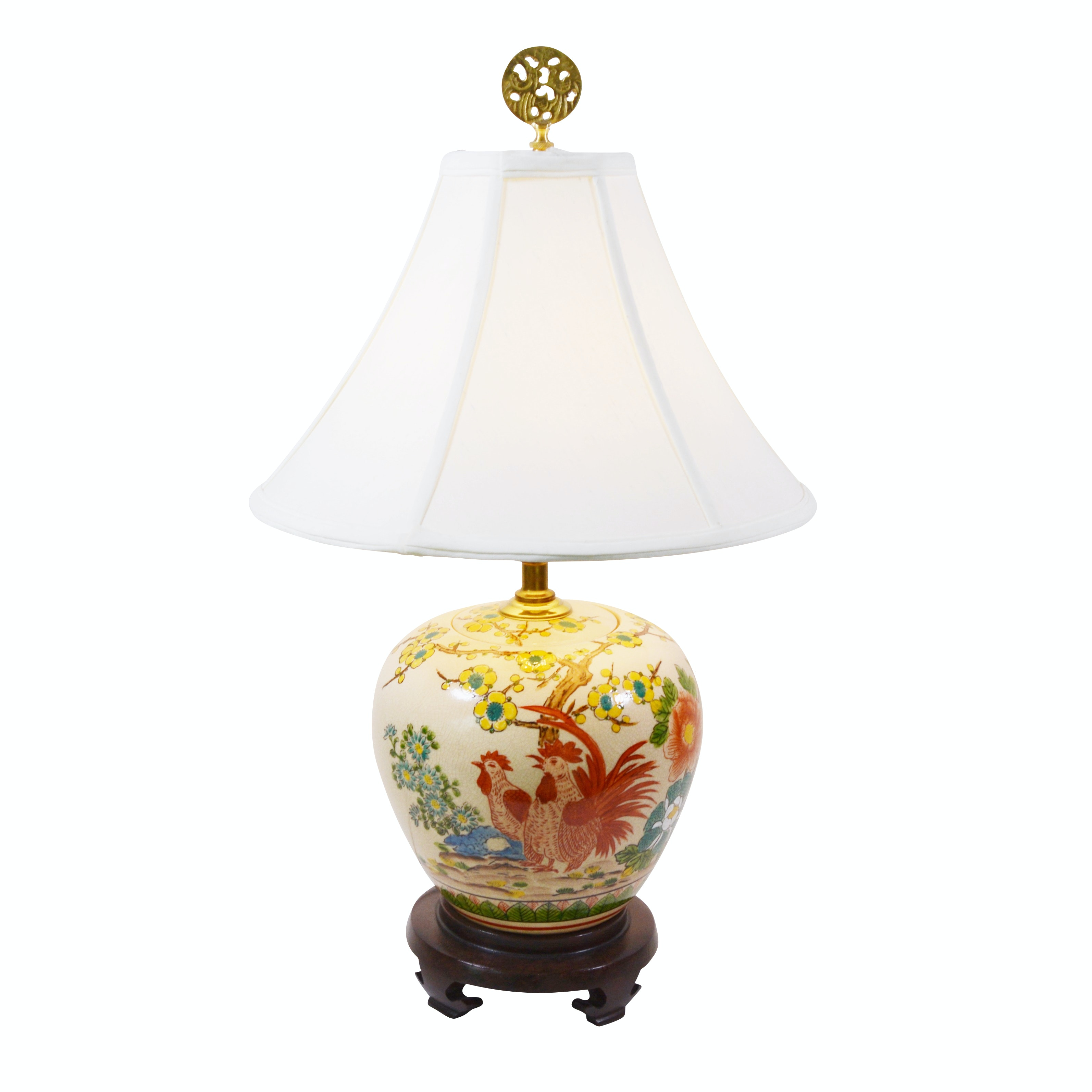 Chinese Rooster Motif Porcelain Melon Jar Table Lamp