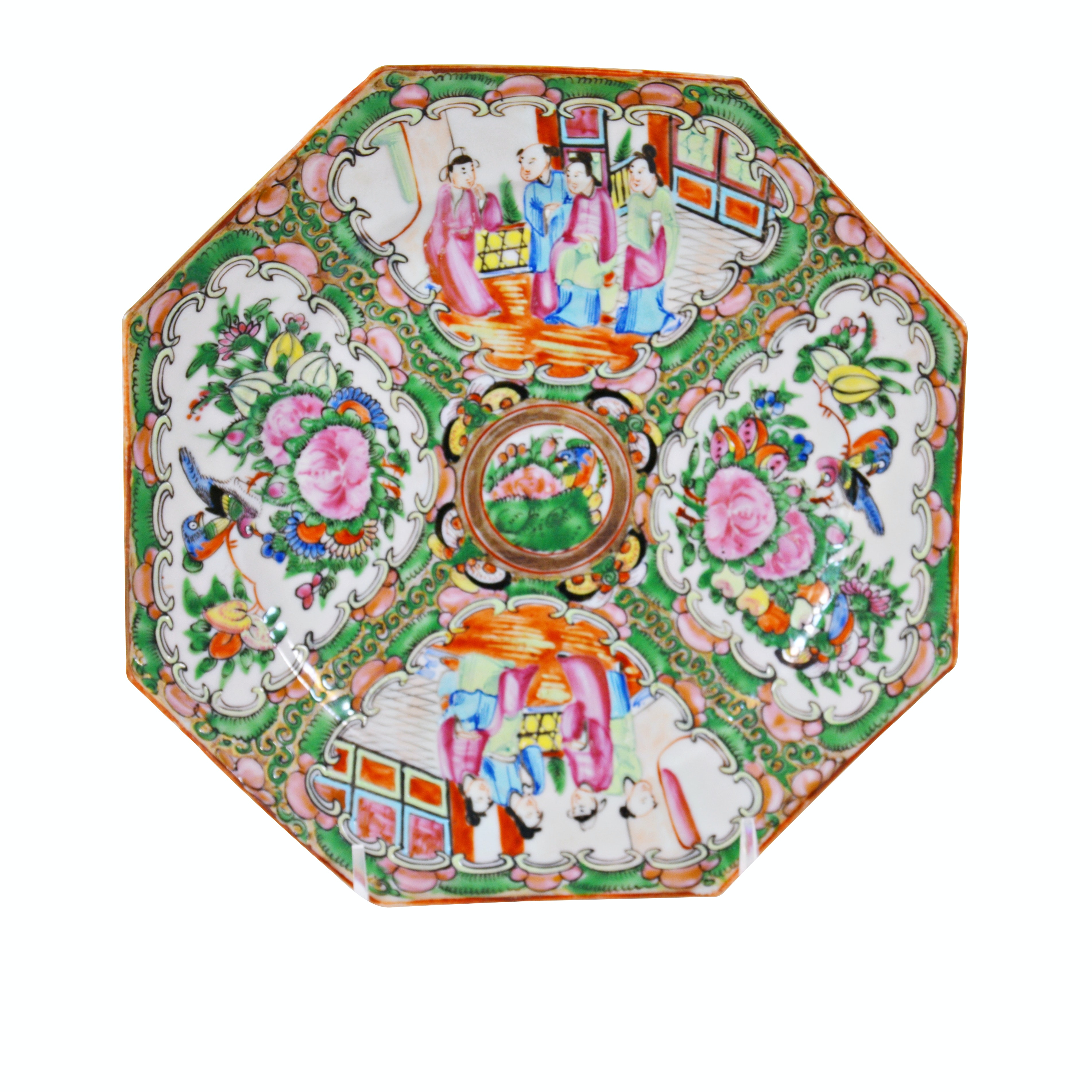 Chinese Rose Medallion Porcelain Octagonal Plate, Late 19th Century