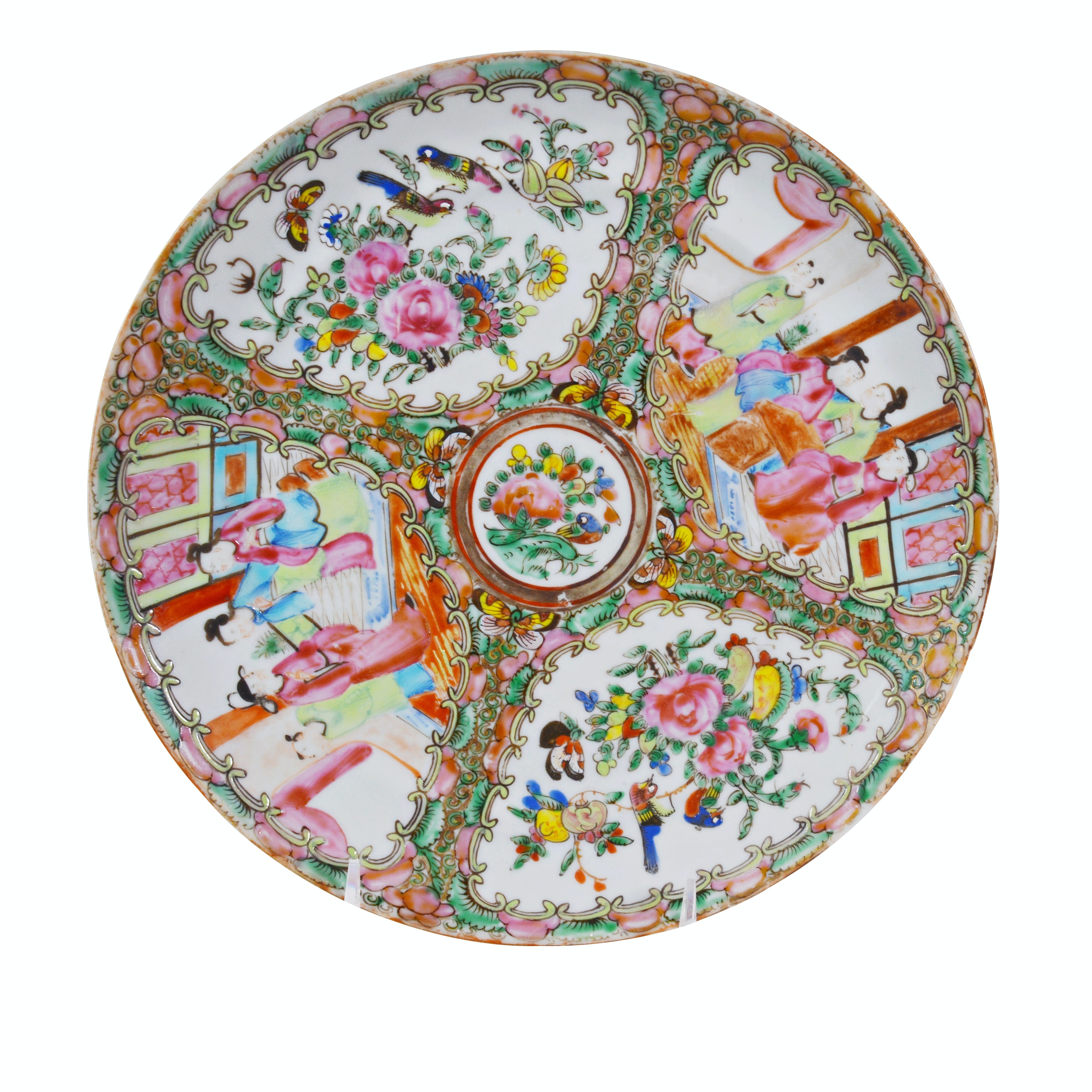 Chinese Rose Medallion Porcelain Dinner Plate, Late 19th Century
