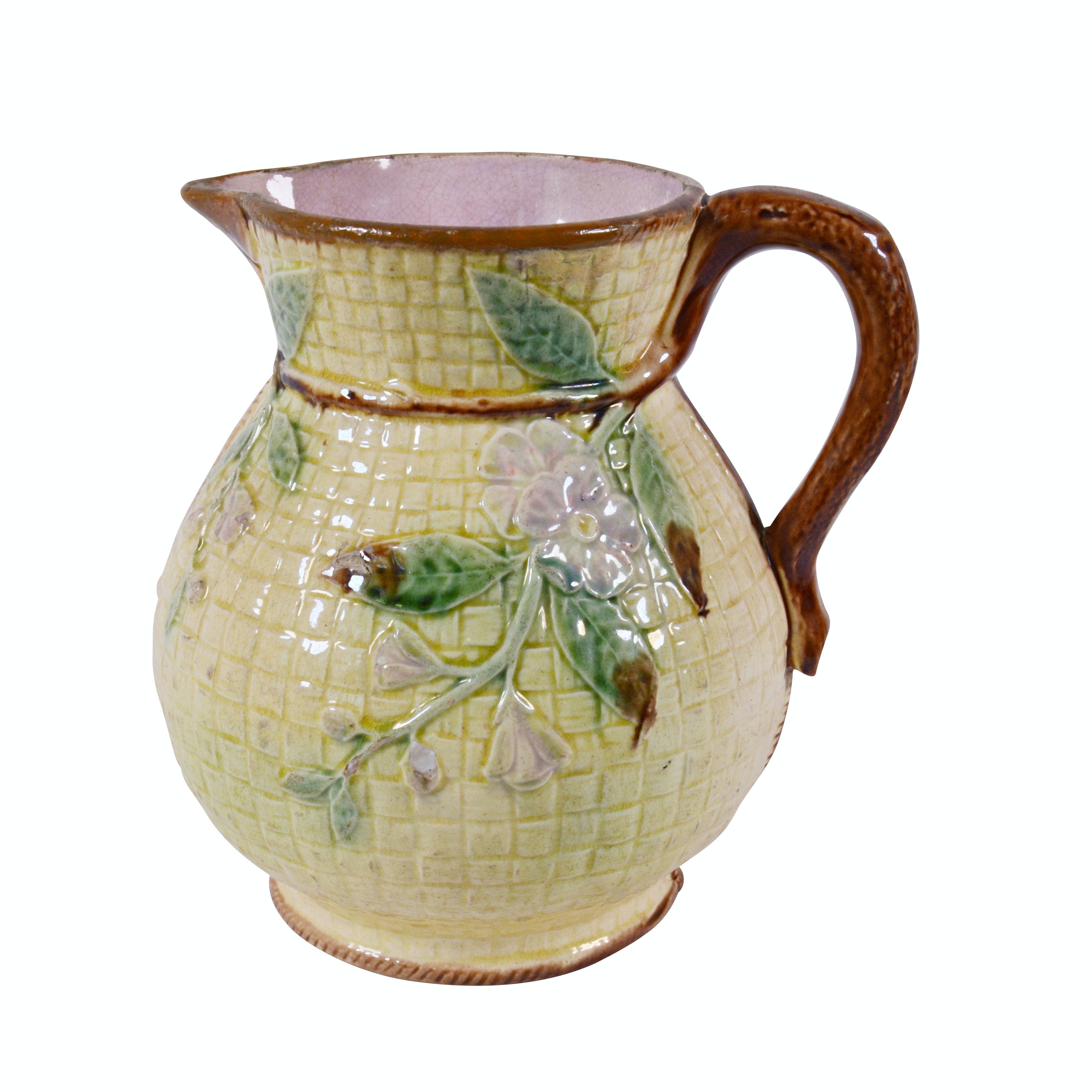Majolica Basket Pattern Floral Pitcher, Antique